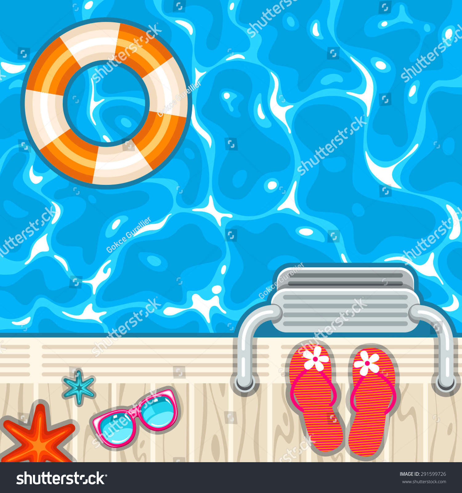 Vector Top View Swimming Pool Accessories Stock Vector (Royalty Free ...