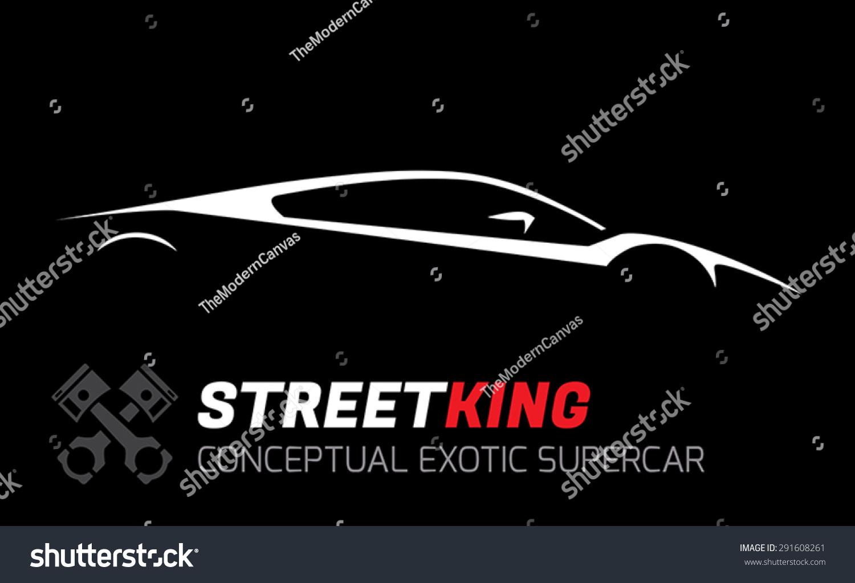 Conceptual Street King Exotic Supercar Silhouette Stock Vector
