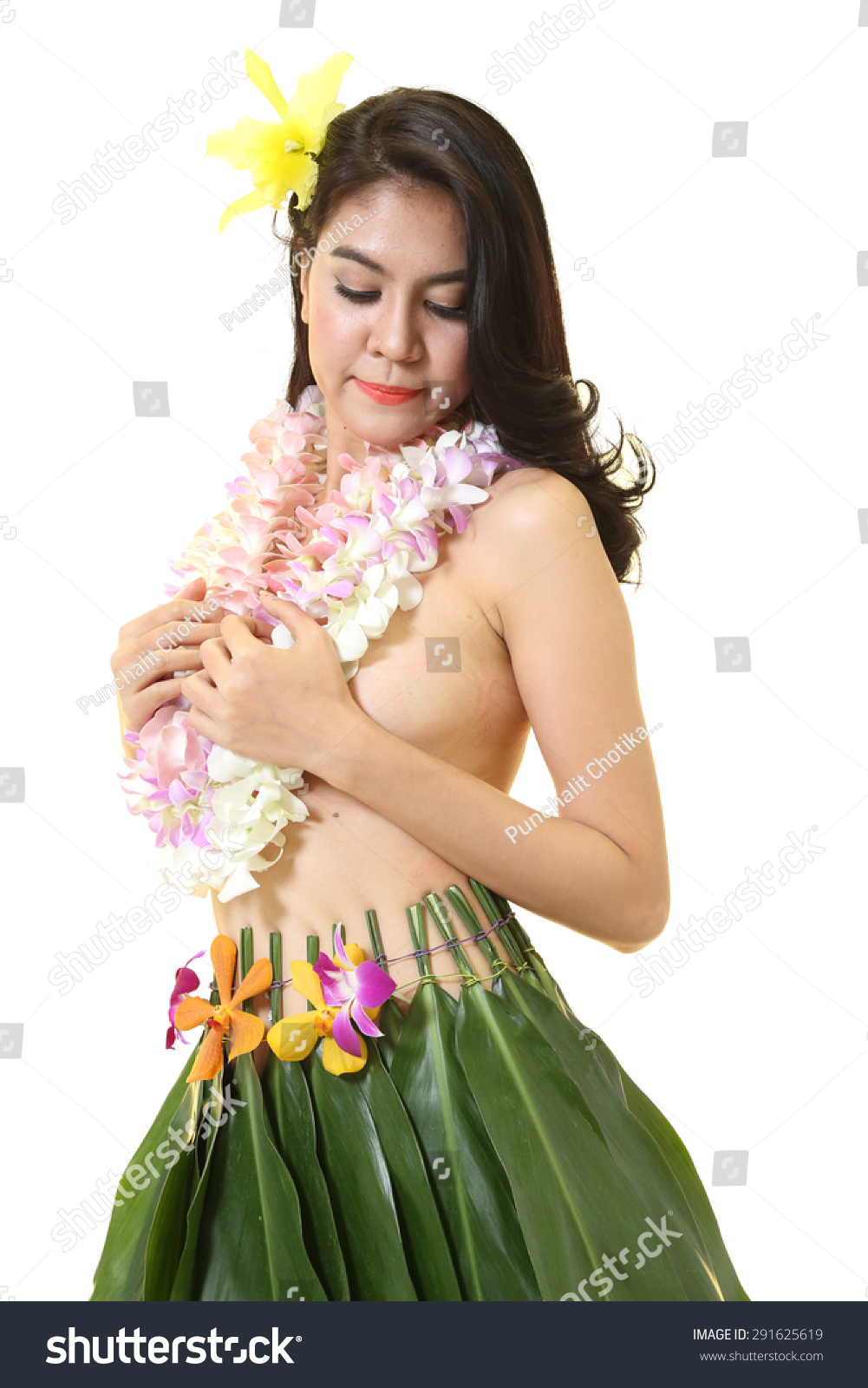 Beautiful woman dress hawaiian style flower stock photo 291625619 beautiful woman dress in hawaiian style with flower lei garland of white orchids on white background izmirmasajfo