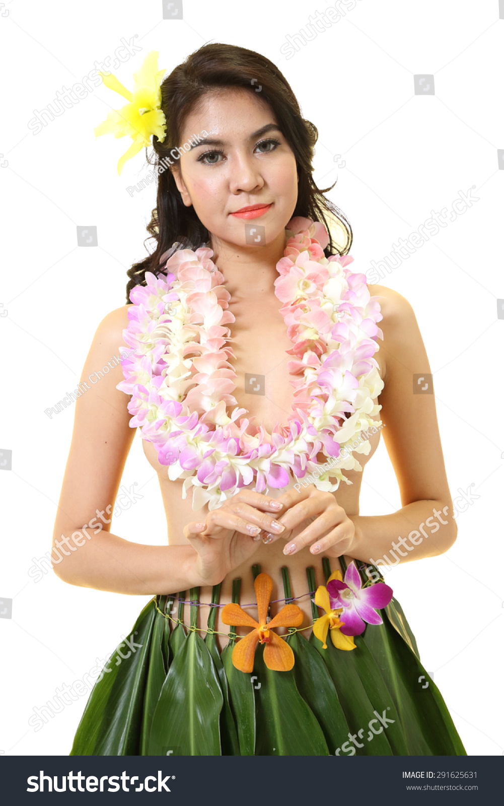 Beautiful woman dress hawaiian style flower stock photo royalty beautiful woman dress in hawaiian style with flower lei garland of white orchids on white background izmirmasajfo Images