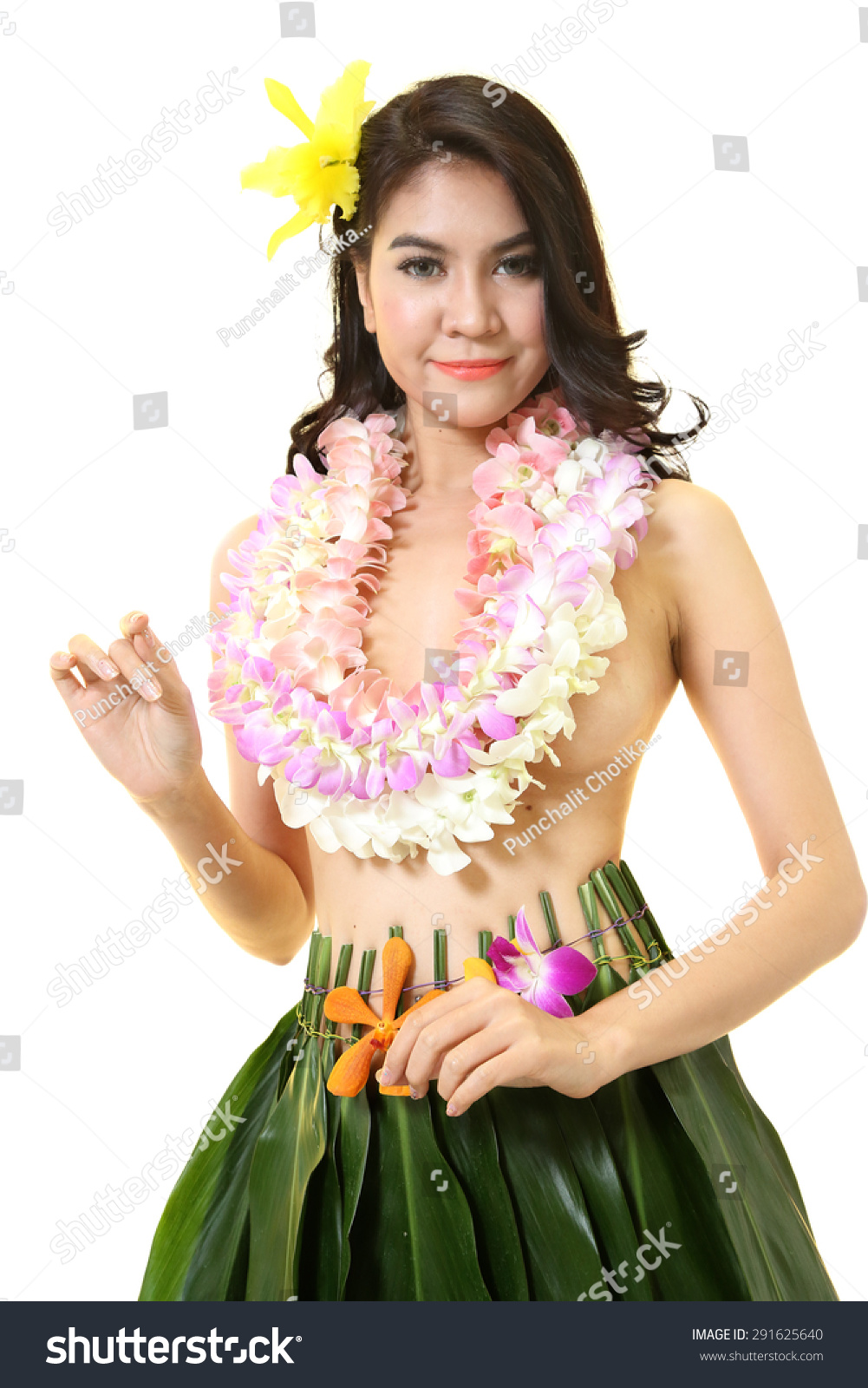 Beautiful woman dress hawaiian style flower stock photo edit now beautiful woman dress in hawaiian style with flower lei garland of white orchids on white background izmirmasajfo