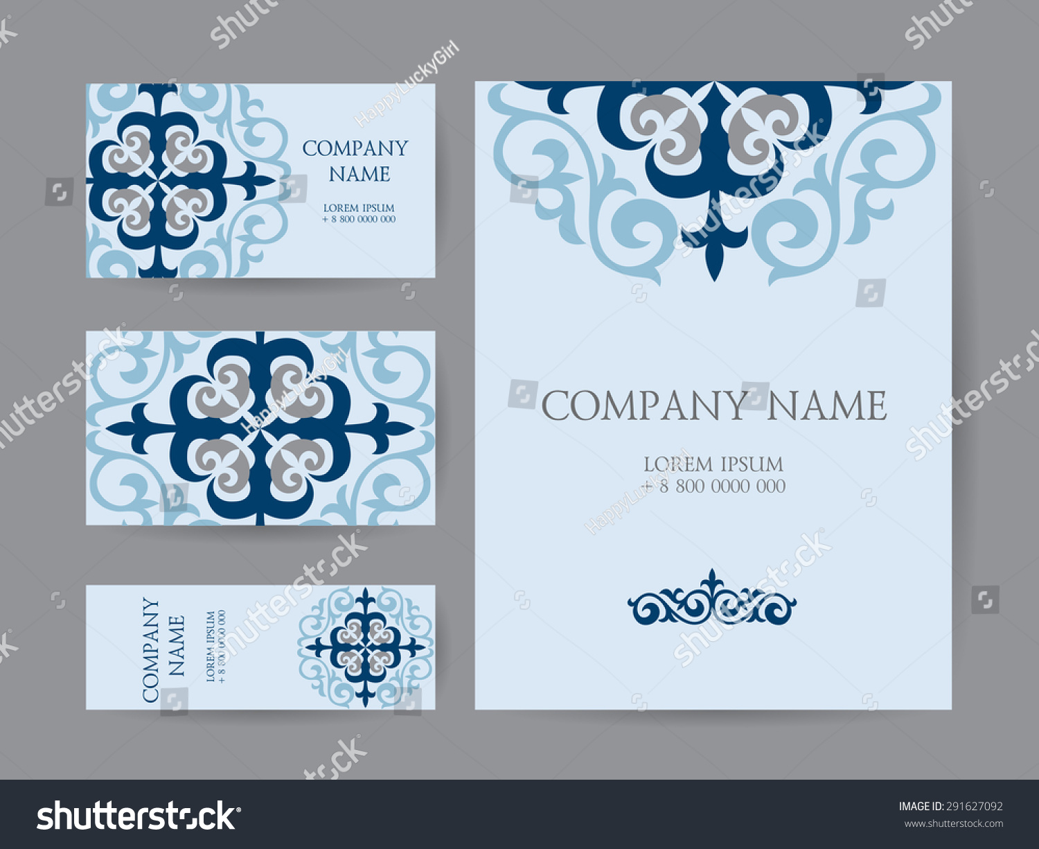 Set Business Cards Invitations Cards Templates Stock Vector ...