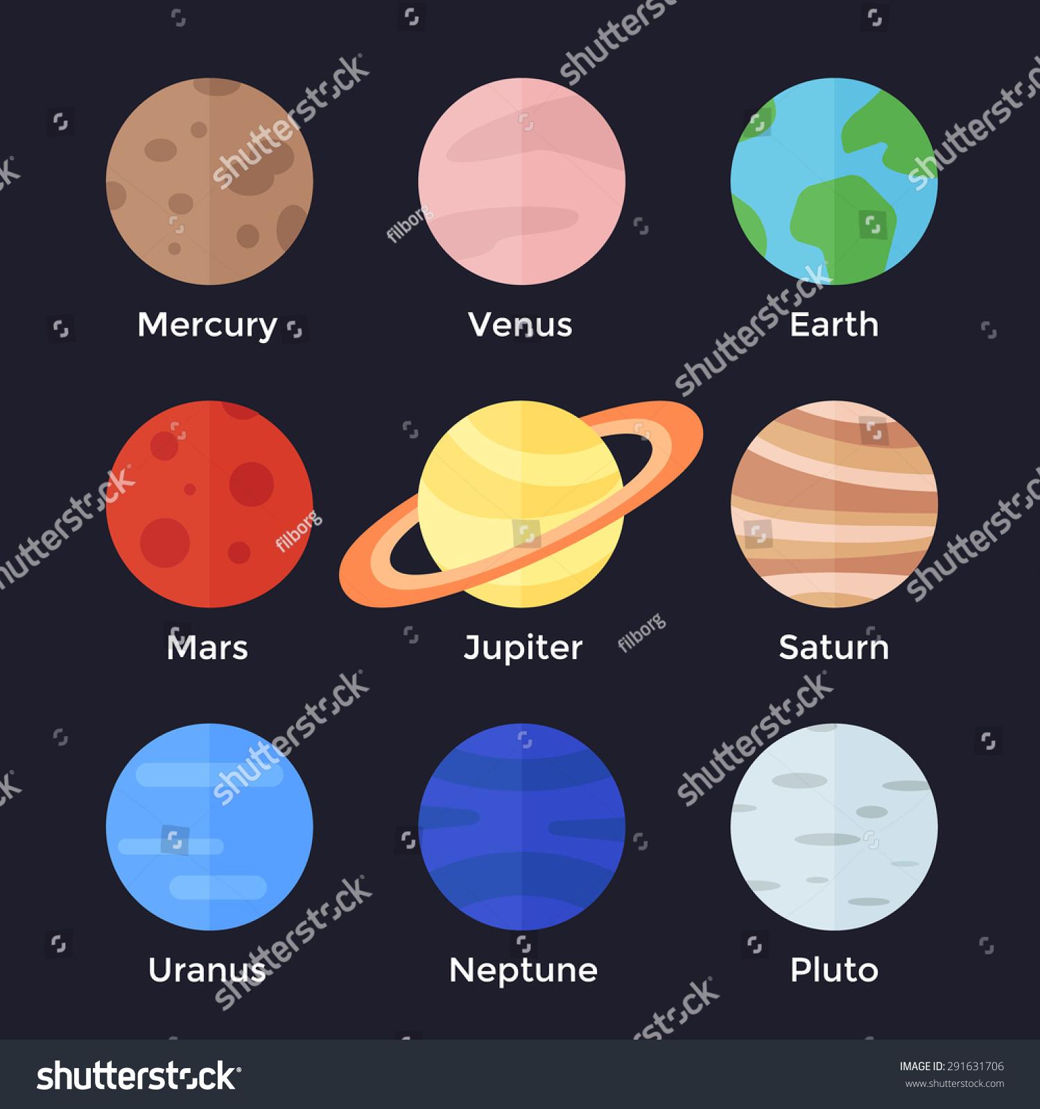 Set planets solar system cartoon style flat icon stock vector image - Solar System Mercury Venus Earth Mars Stock Vector
