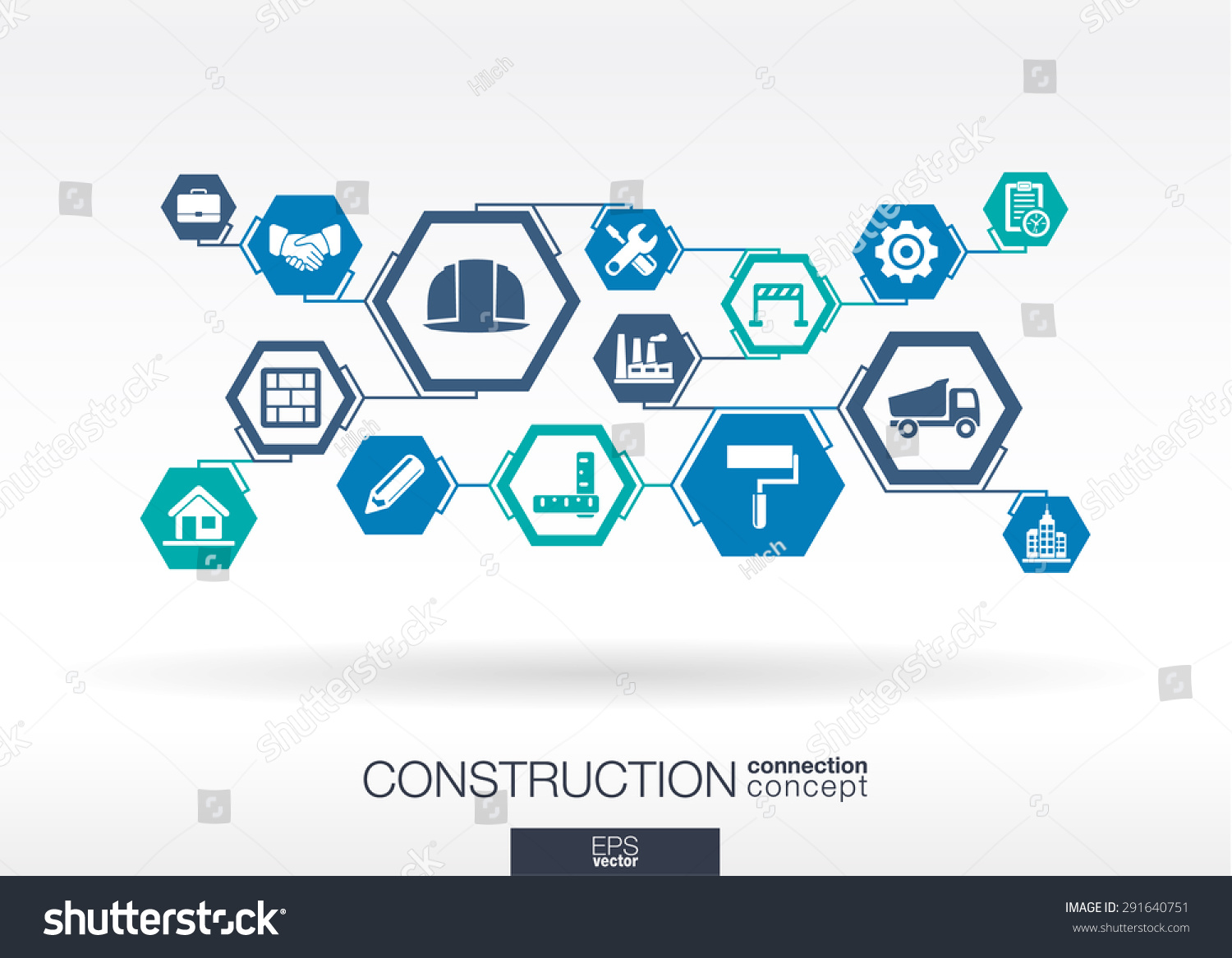 Construction Network Hexagon Abstract Background Lines