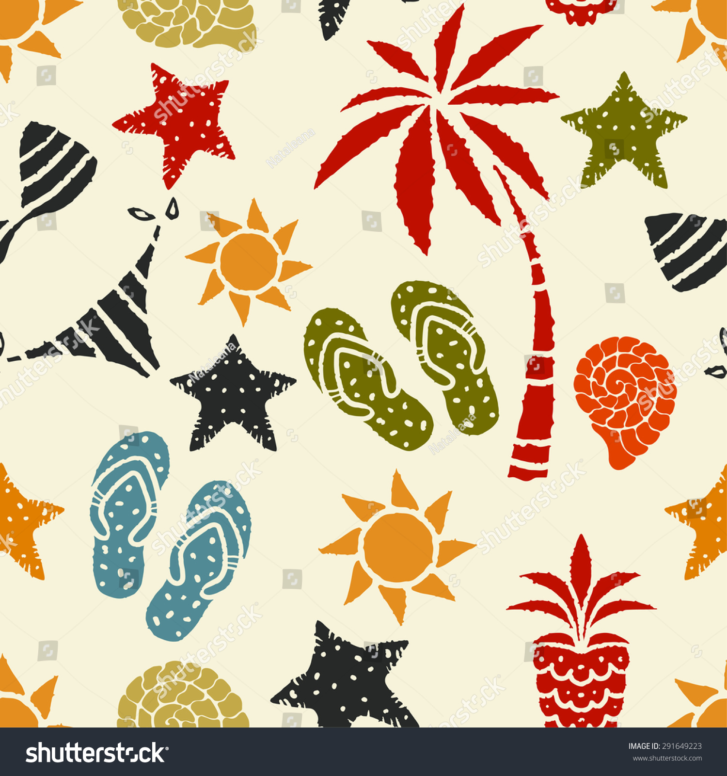 003925acad686 Seamless Pattern Sun Palm Tree Pineapple Stock Vector (Royalty Free ...