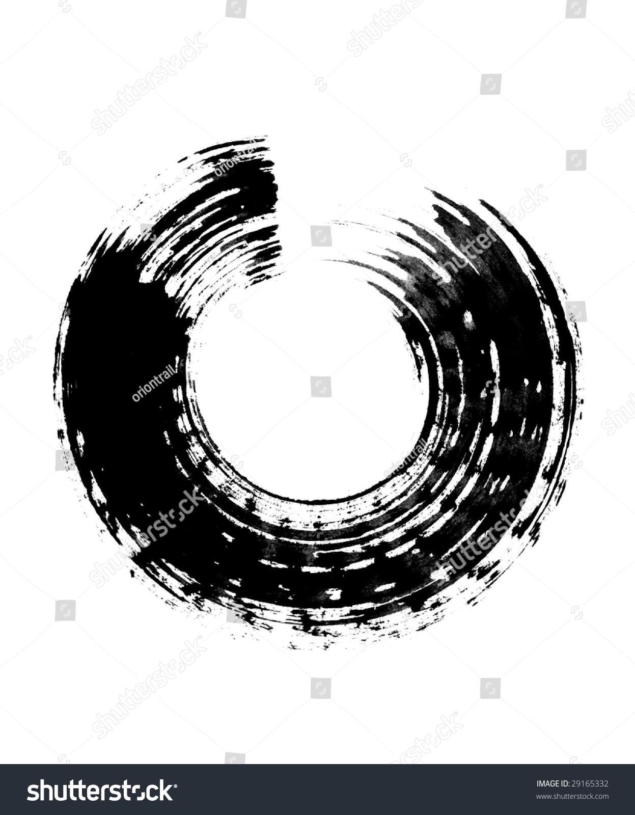 Japanese calligraphic brush stroke stock illustration