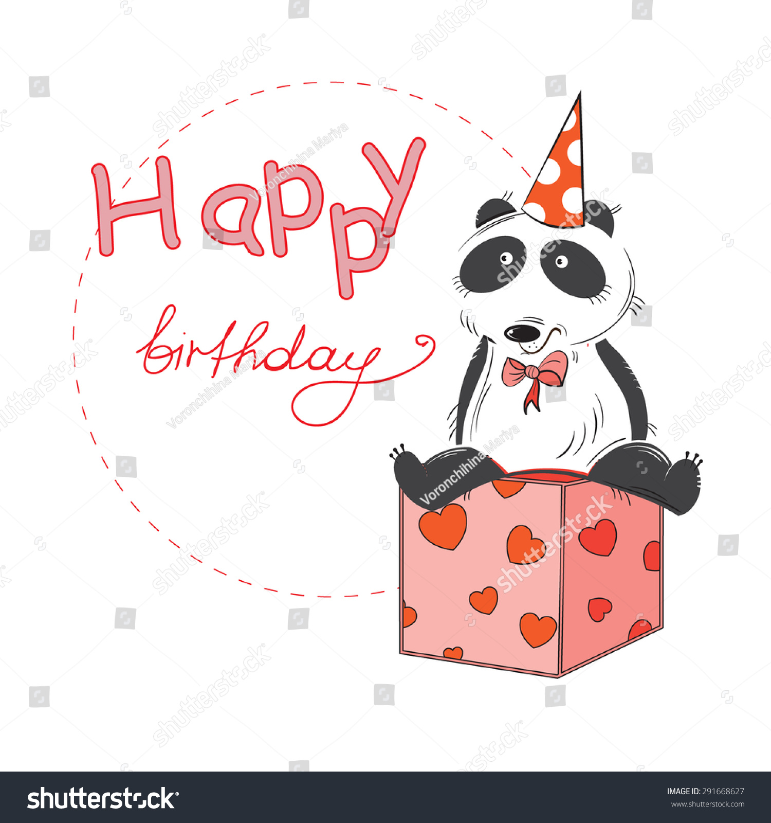 Greeting Card Cartoon Panda Birthday Greetings Stock Vector