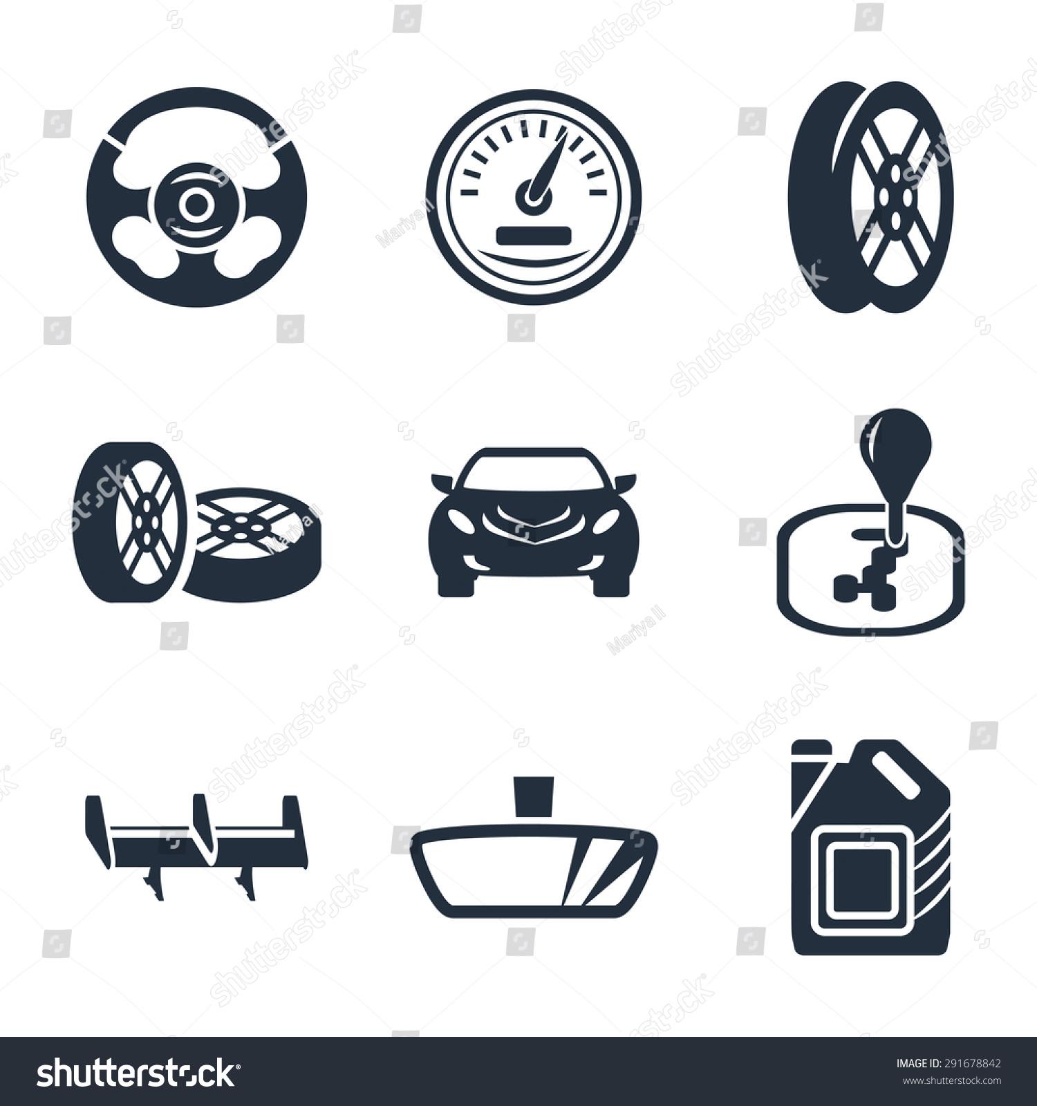 Car Parts Vector Icon Set Stock Vector Royalty Free 291678842