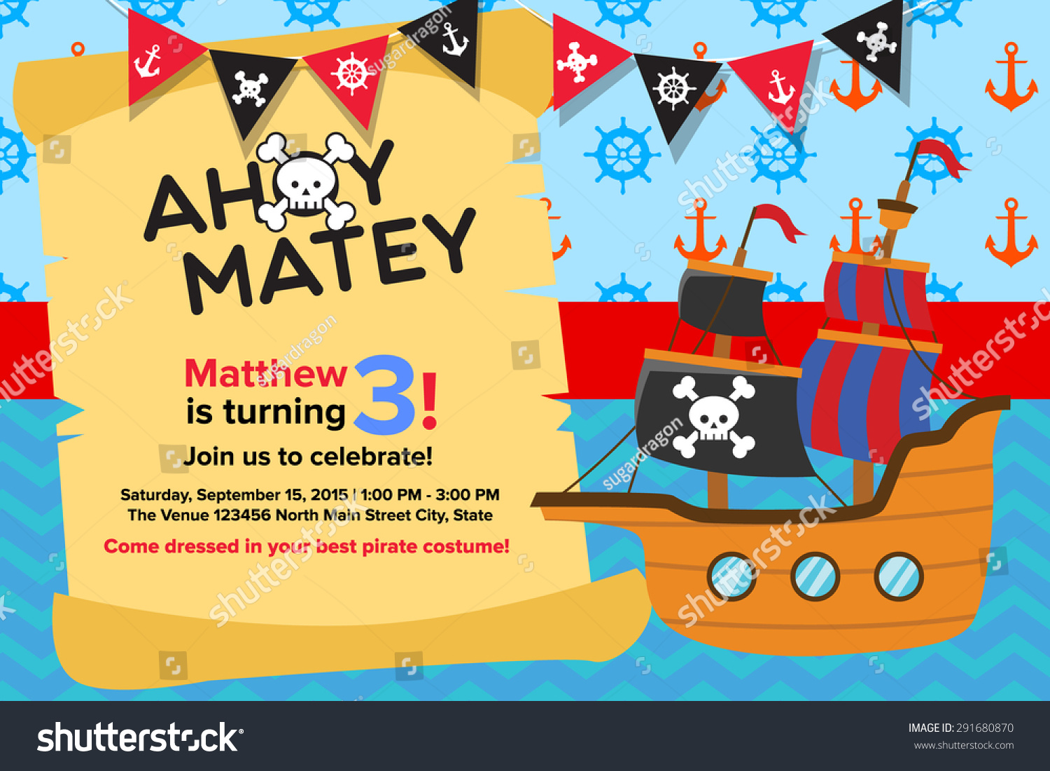 ahoy matey pirate birthday invitation card stock vector 291680870 ahoy matey pirate birthday invitation card template