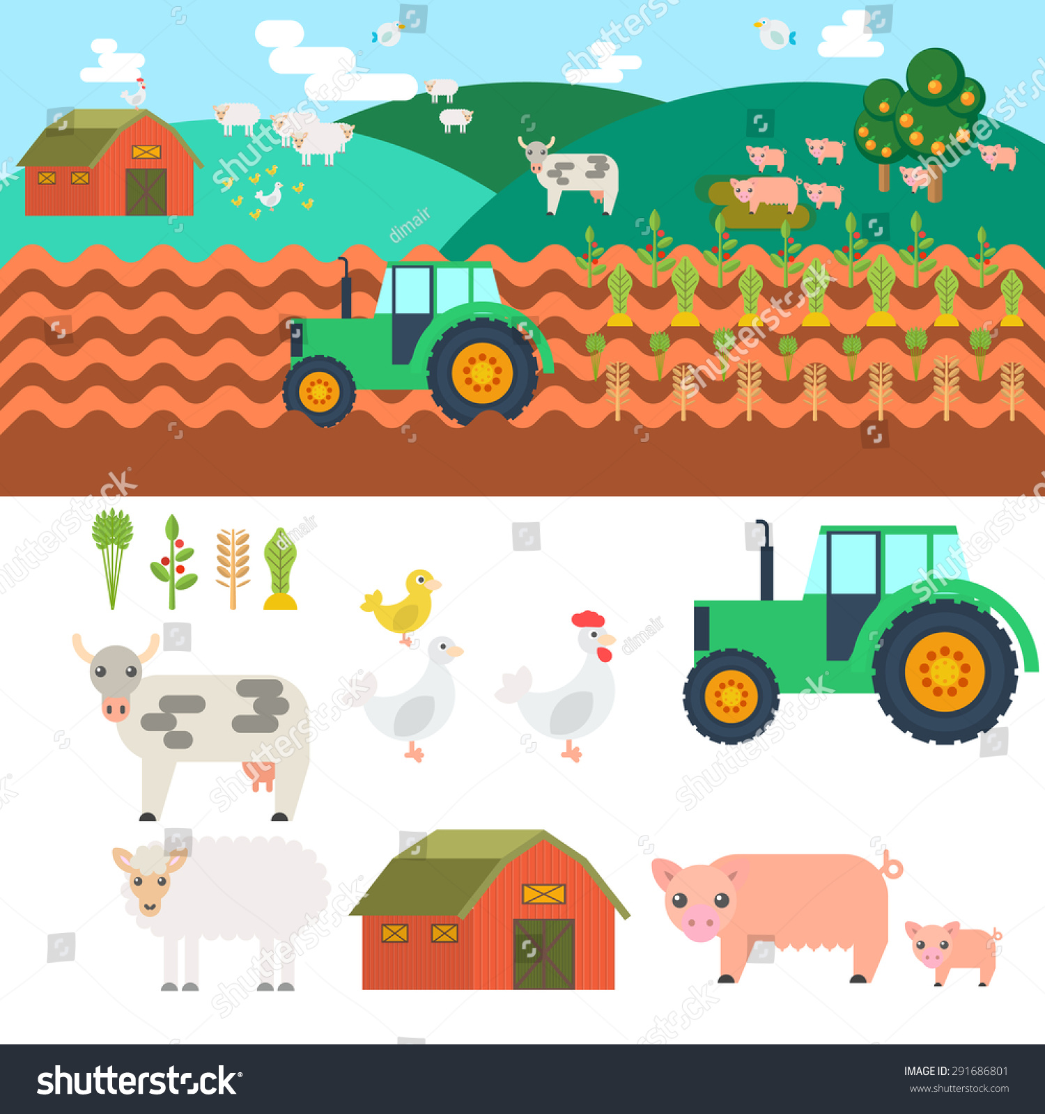 Farm Village Elements Game Sprites Tile Stock Vector
