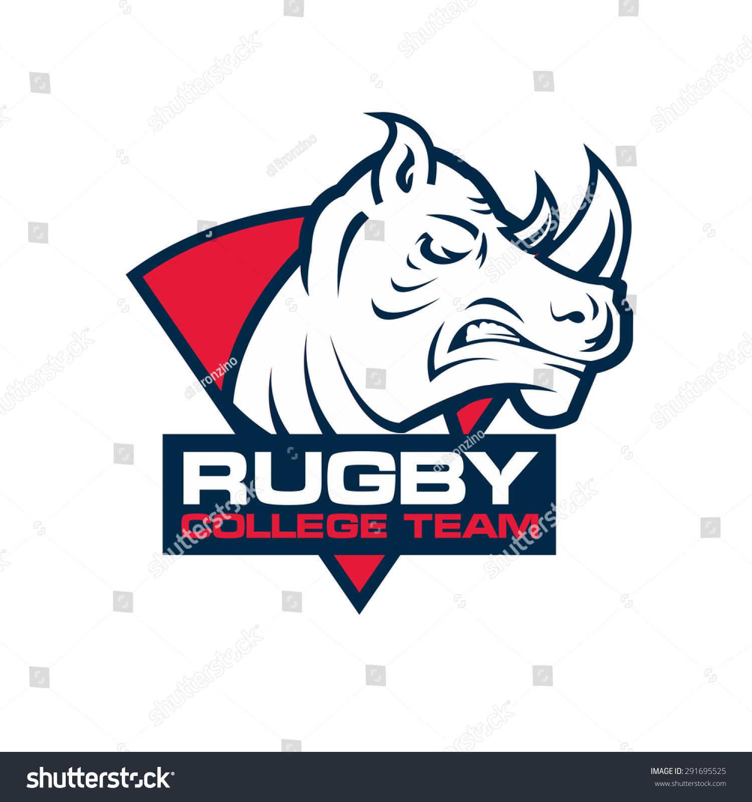Flatliners Paramedic Rugby Football Club: Royalty-free Rhino Head Sport Logo. Rugby Badge