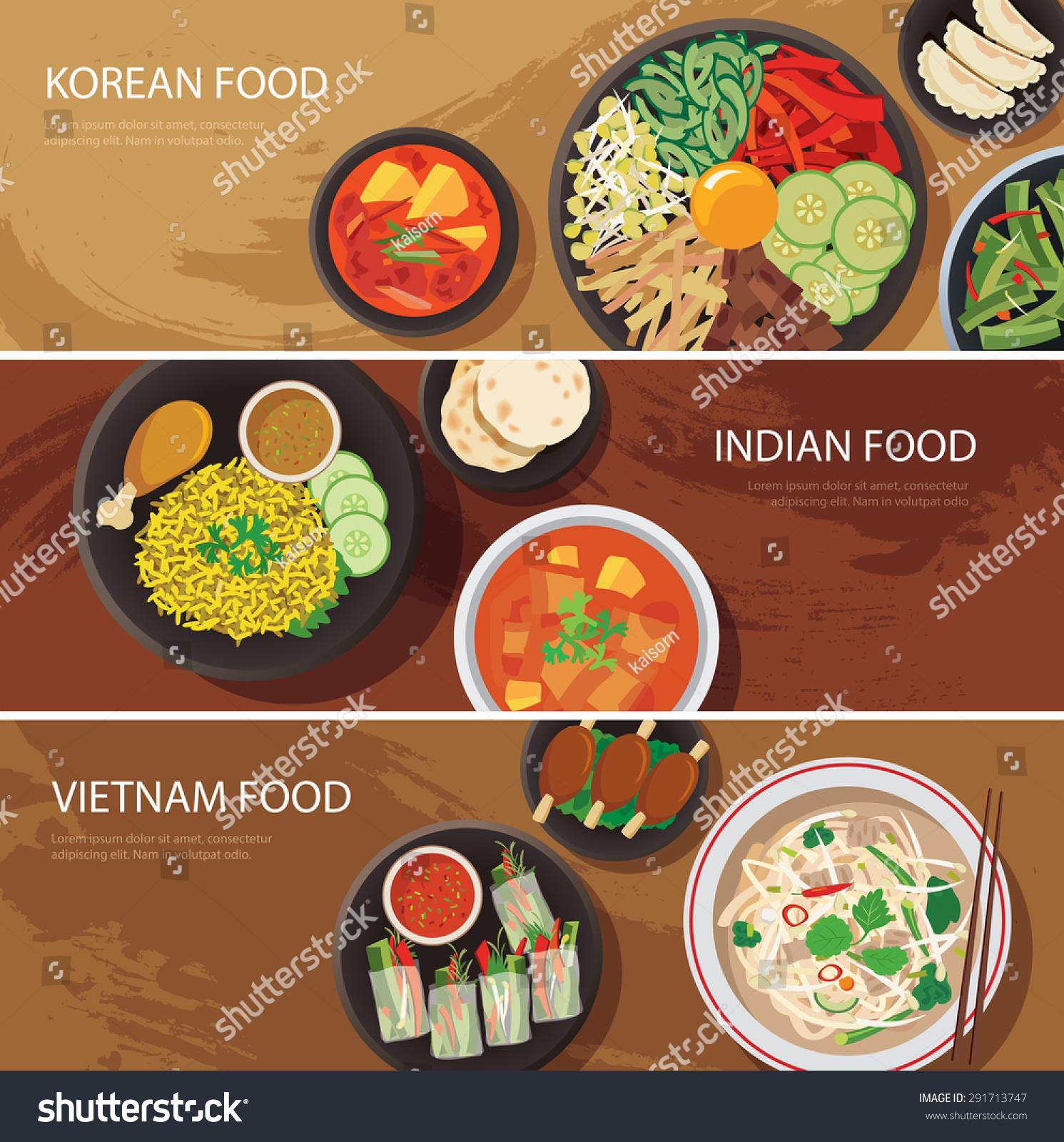 Asia street food web banner korean stock vector 291713747 for Asia asian cuisine