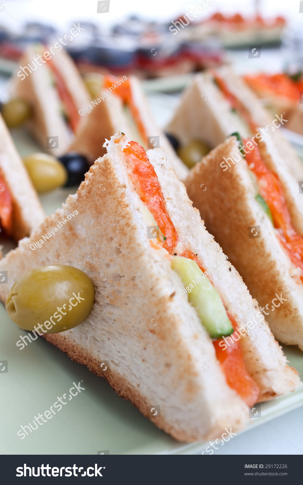 Club Tea Sandwich With Salmon And Cucumbers On White Bread Stock Photo ...