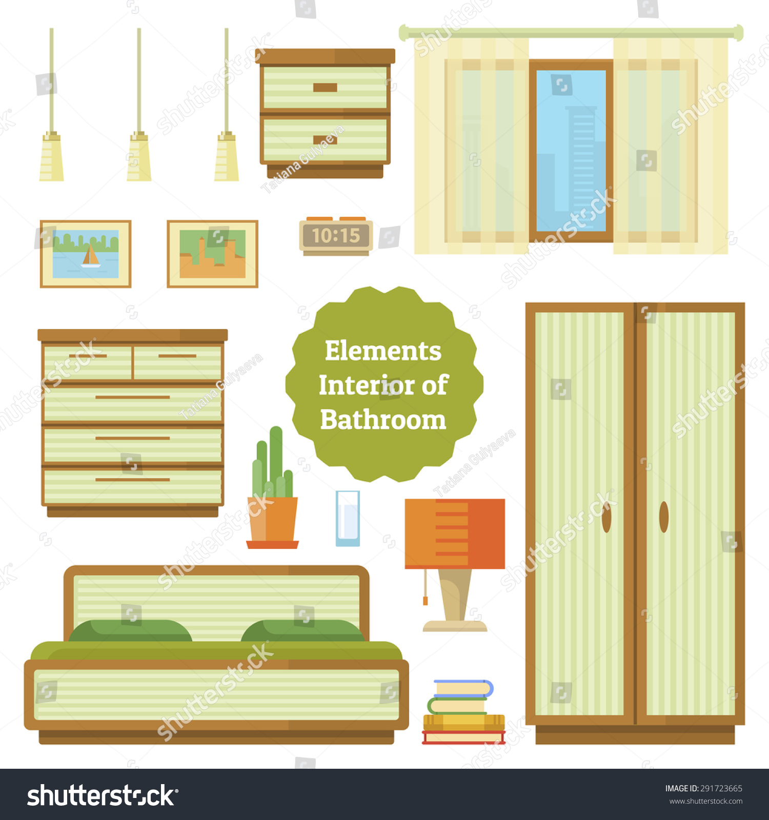 Bedroom Furniture Of House Set Elements In A Flat Style