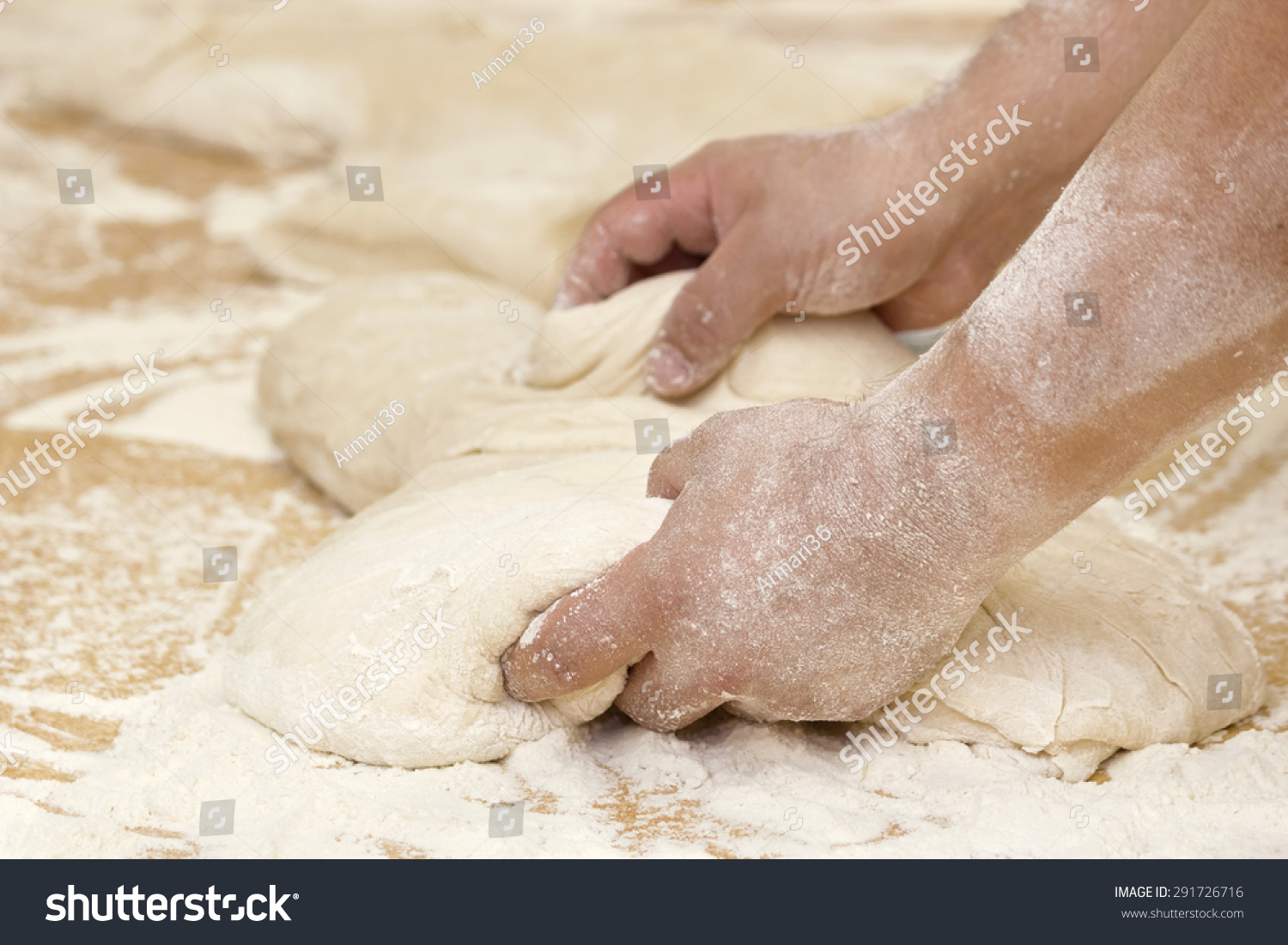 Hands Of A Baker Kneading Dough For Baking Bread In The Bakery. Stock Photography. - 291726716 ...