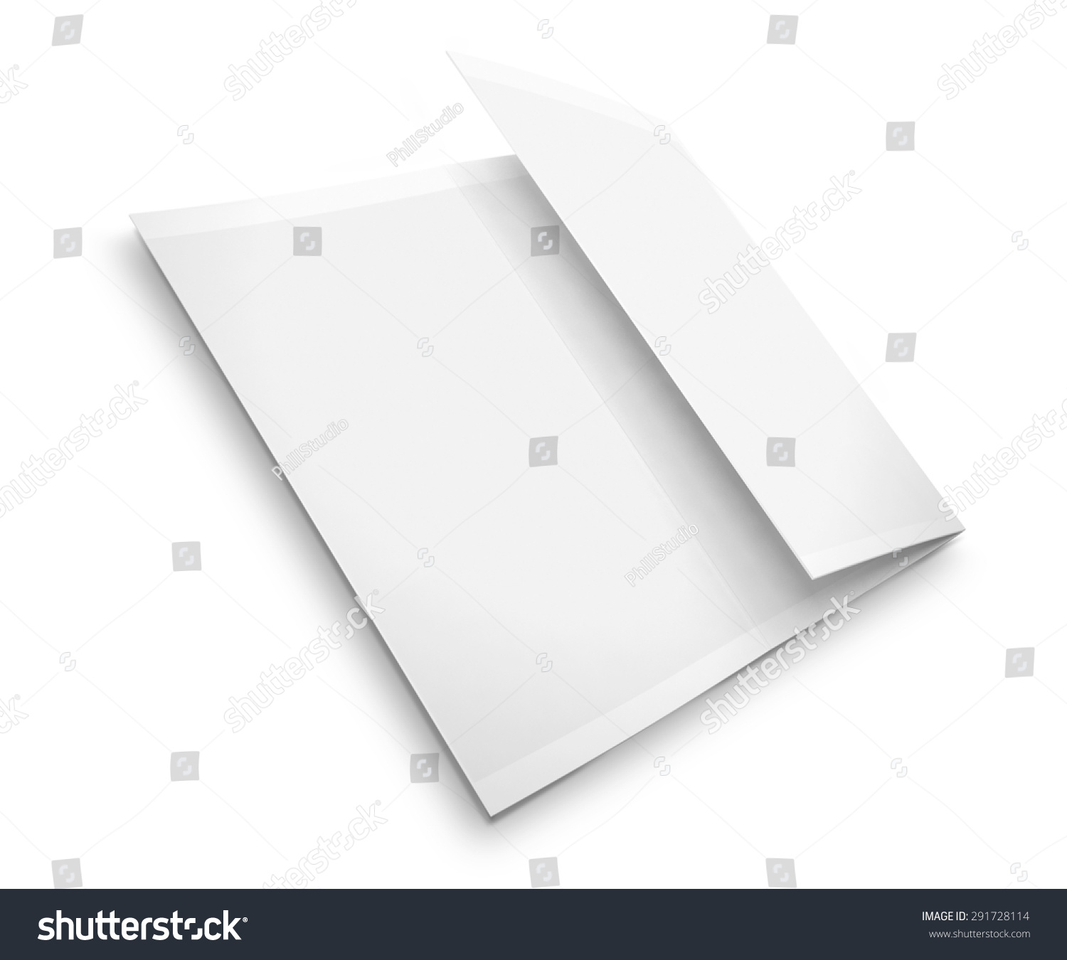 blank trifold brochure zigzag folded flyer isolated on white