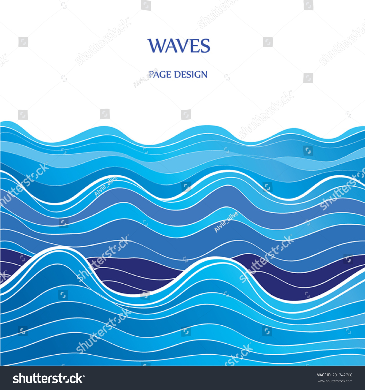 Blue Graphic Waves Vector Illustration Blue Stock Vector 291742706 ...