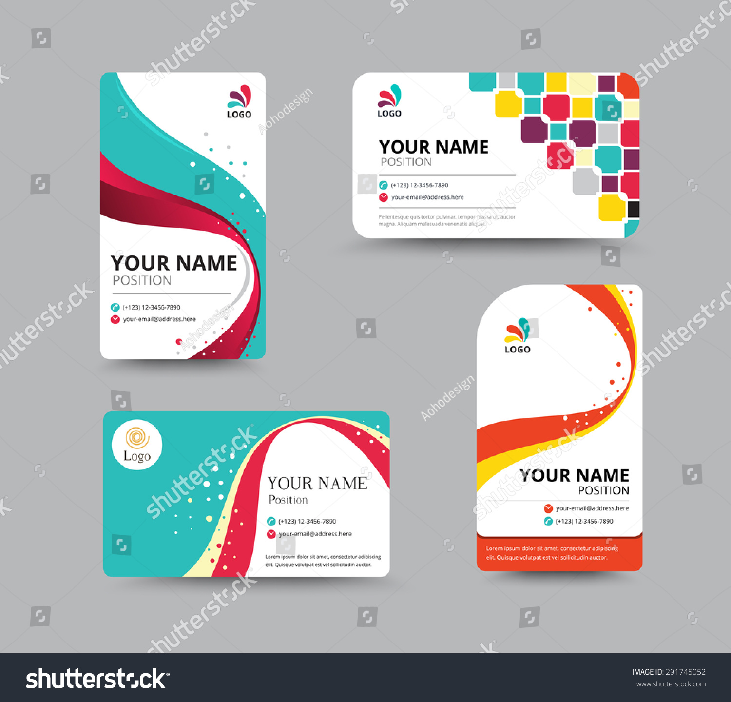 Business Card Template Design Floral Concept Stock Vector ...