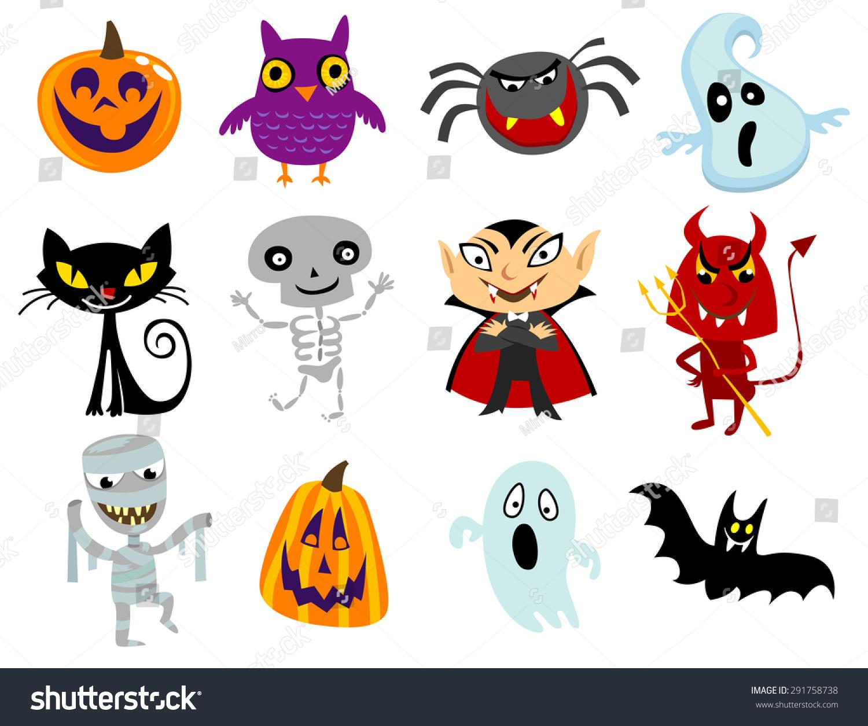 Set Of Funny Halloween Cartoons, Cute Halloween Characters ...