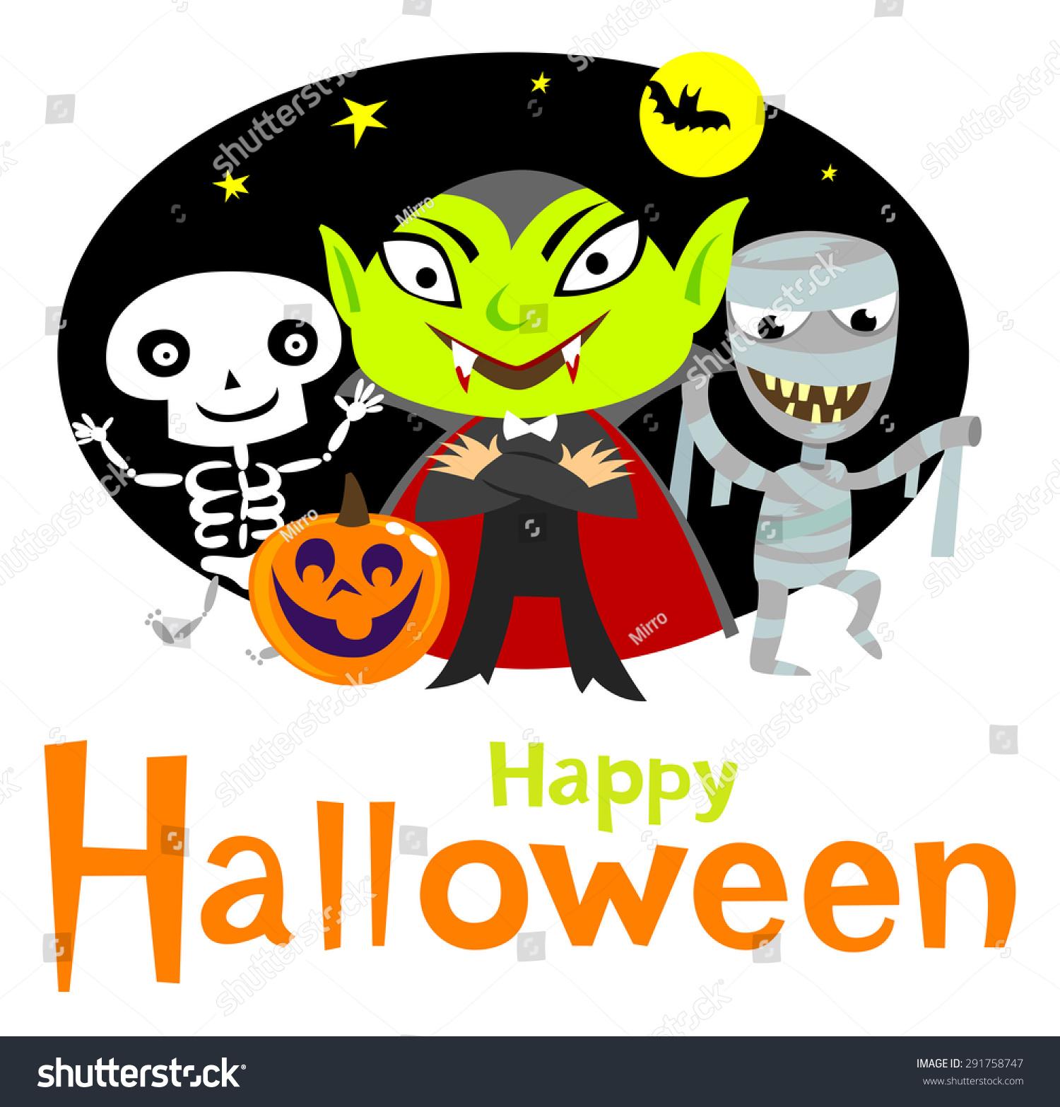 Halloween greeting card cute halloween characters stock vector halloween greeting card with cute halloween characters kristyandbryce Choice Image