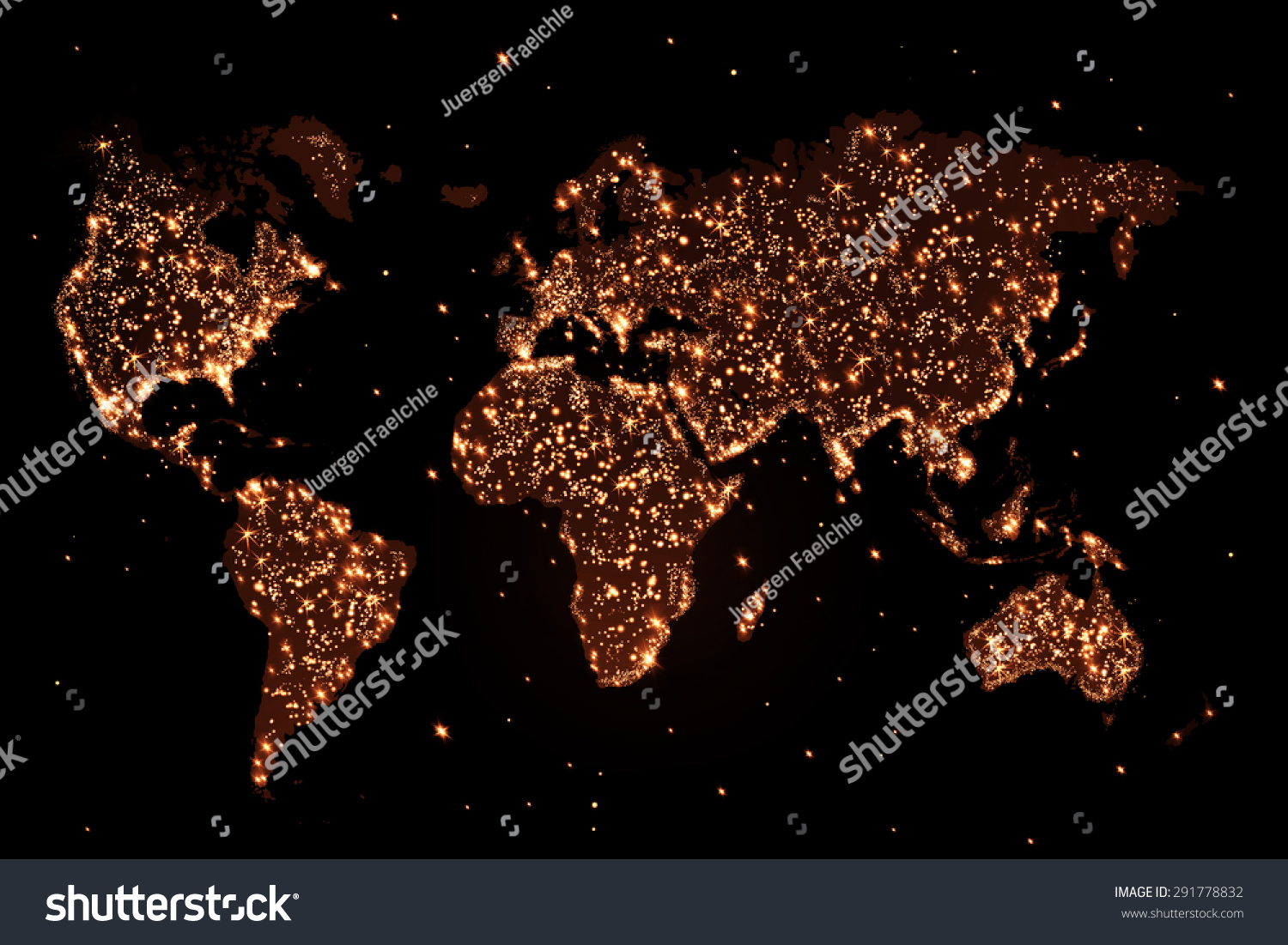 Abstract world map lights night stock illustration 291778832 abstract world map with lights in the night publicscrutiny Gallery