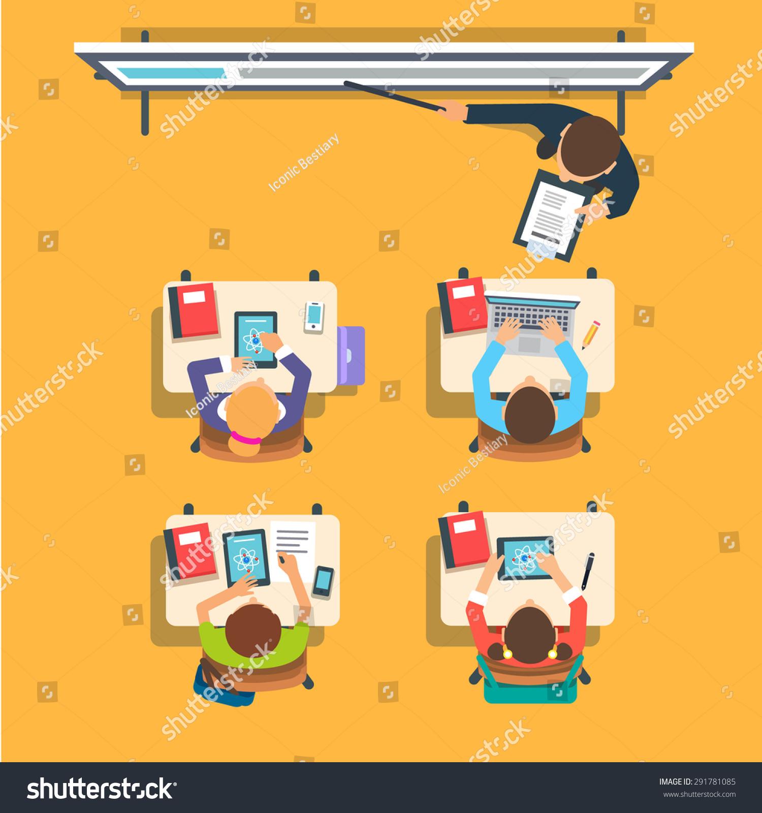 Modern Classroom Vector ~ Teacher standing pointing modern interactive whiteboard