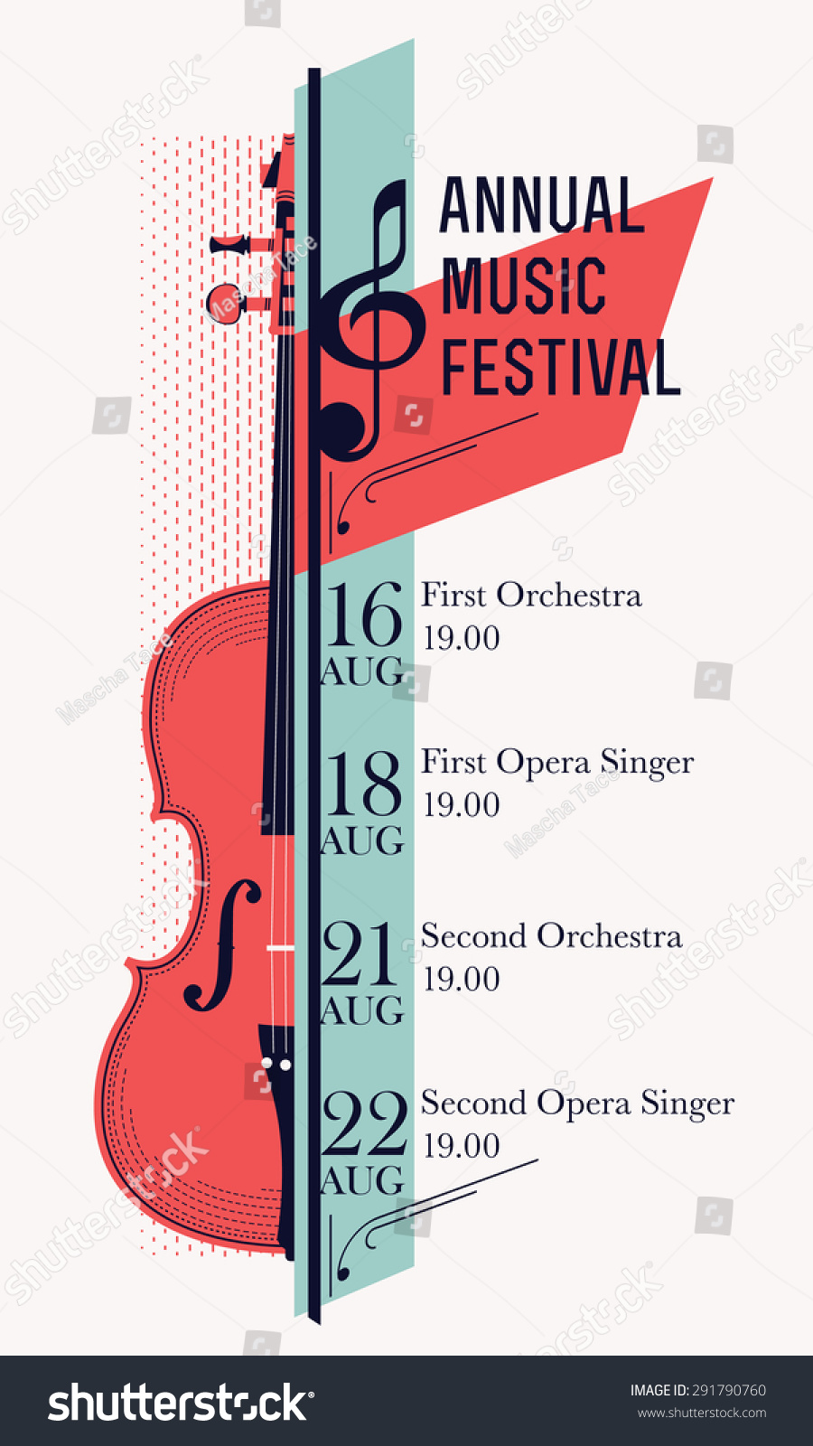 beautiful modern classical music festival poster stock