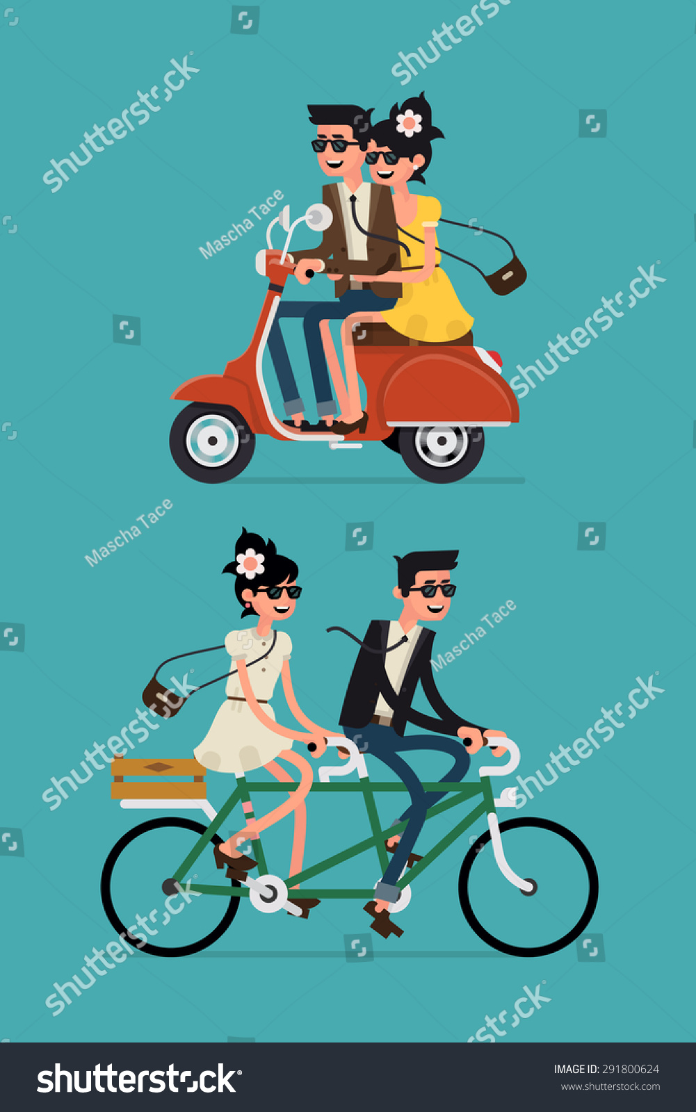 Cool vector flat design happy young man and woman characters couple riding tandem bicycle and retro city scooter isolated Young hipsters couple riding twin bike and vintage moped laughing happily