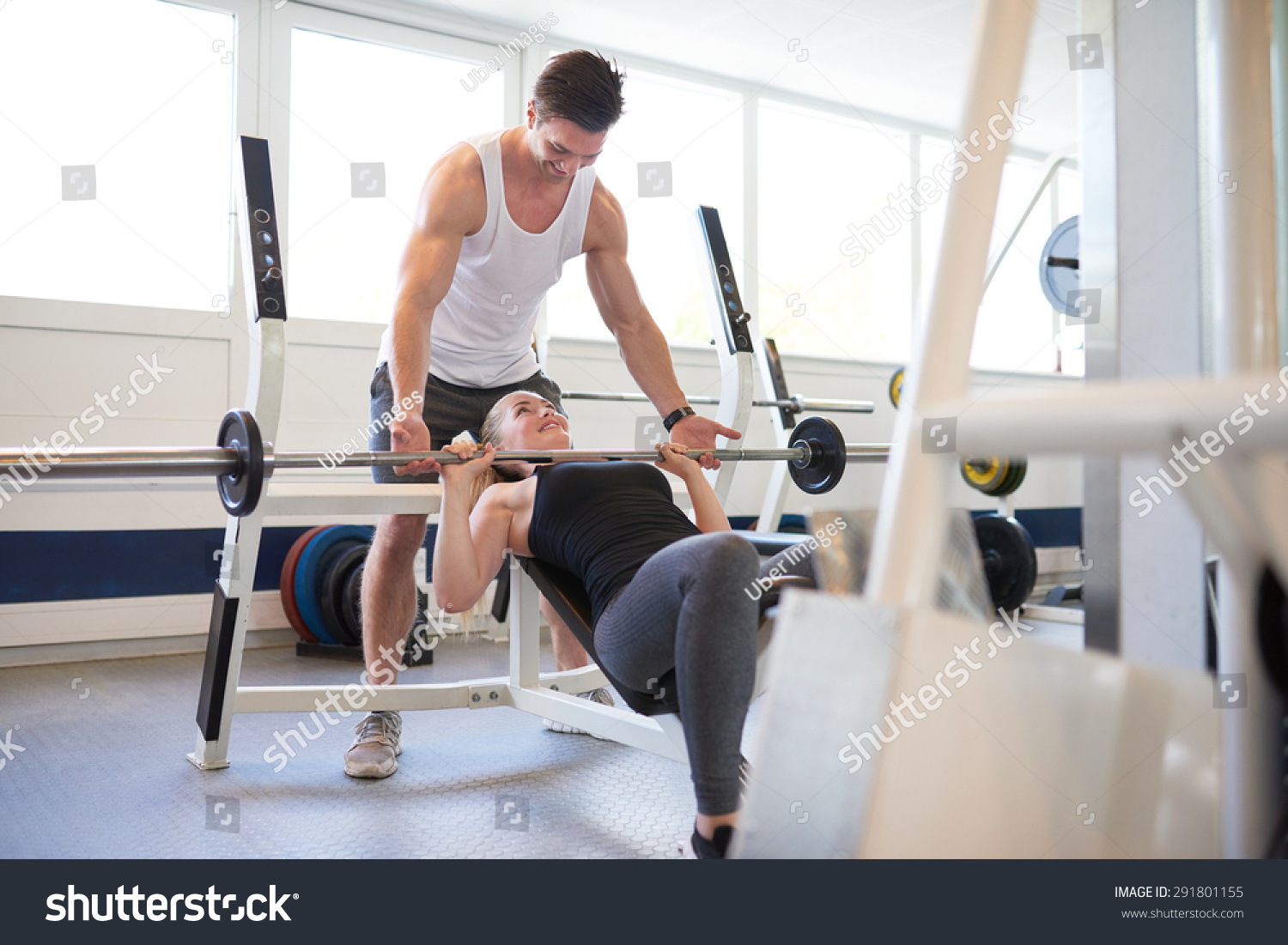 Athletic Young Gym Instructor Guy Supporting Stock Photo 291801155 ...