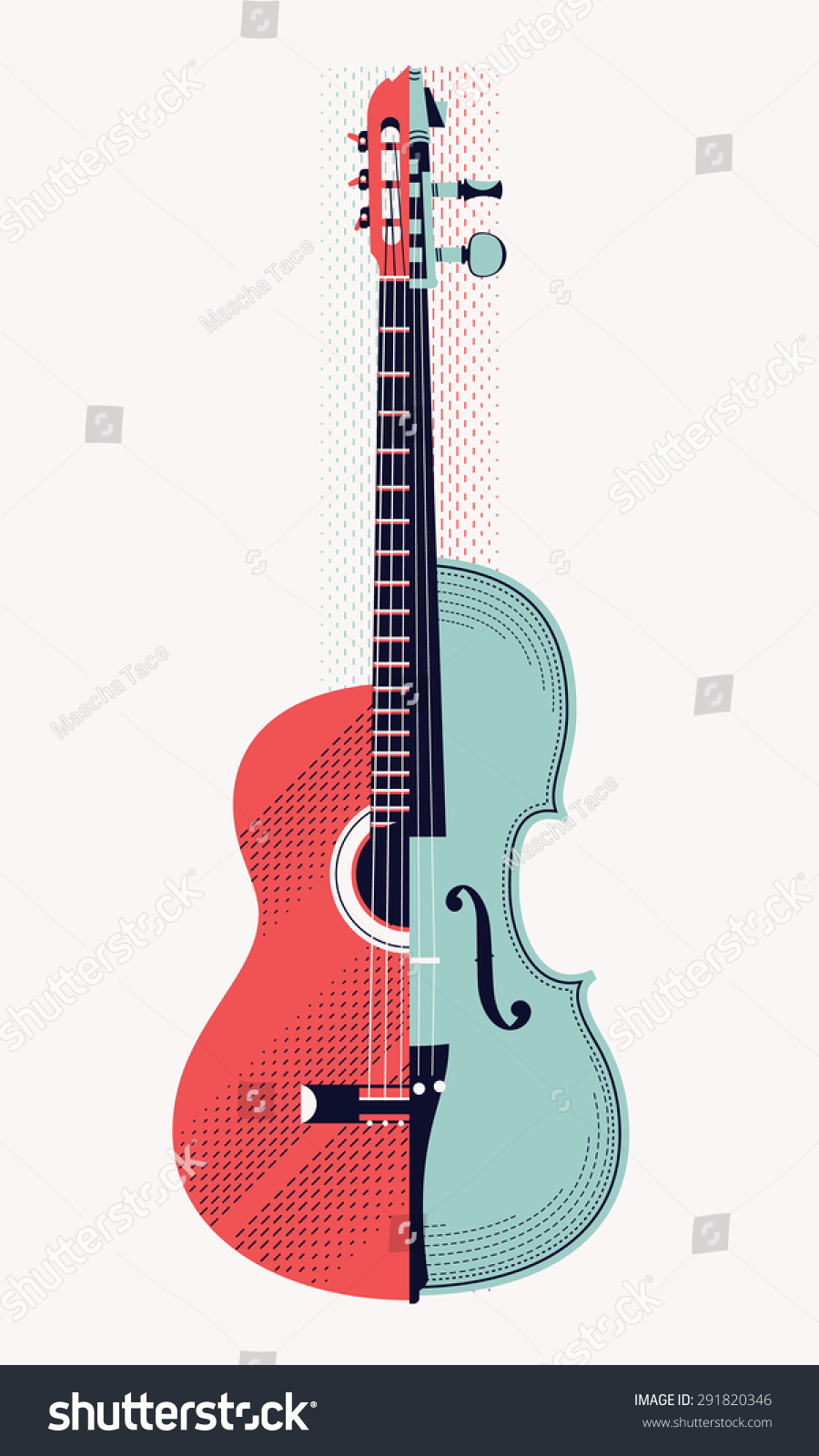lovely vector retro collage style decorative composition of string musical instruments classical. Black Bedroom Furniture Sets. Home Design Ideas