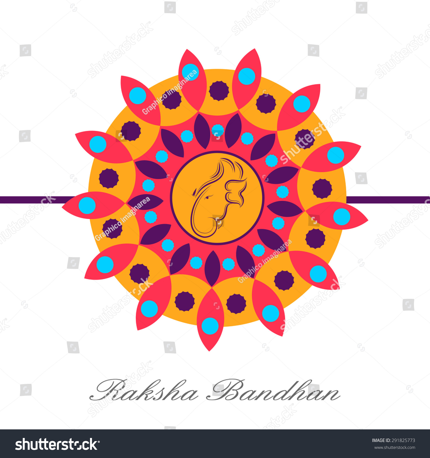 Indian Festival Decoration Illustration Beautiful Floral Decorative Rakhi Indian Stock Vector