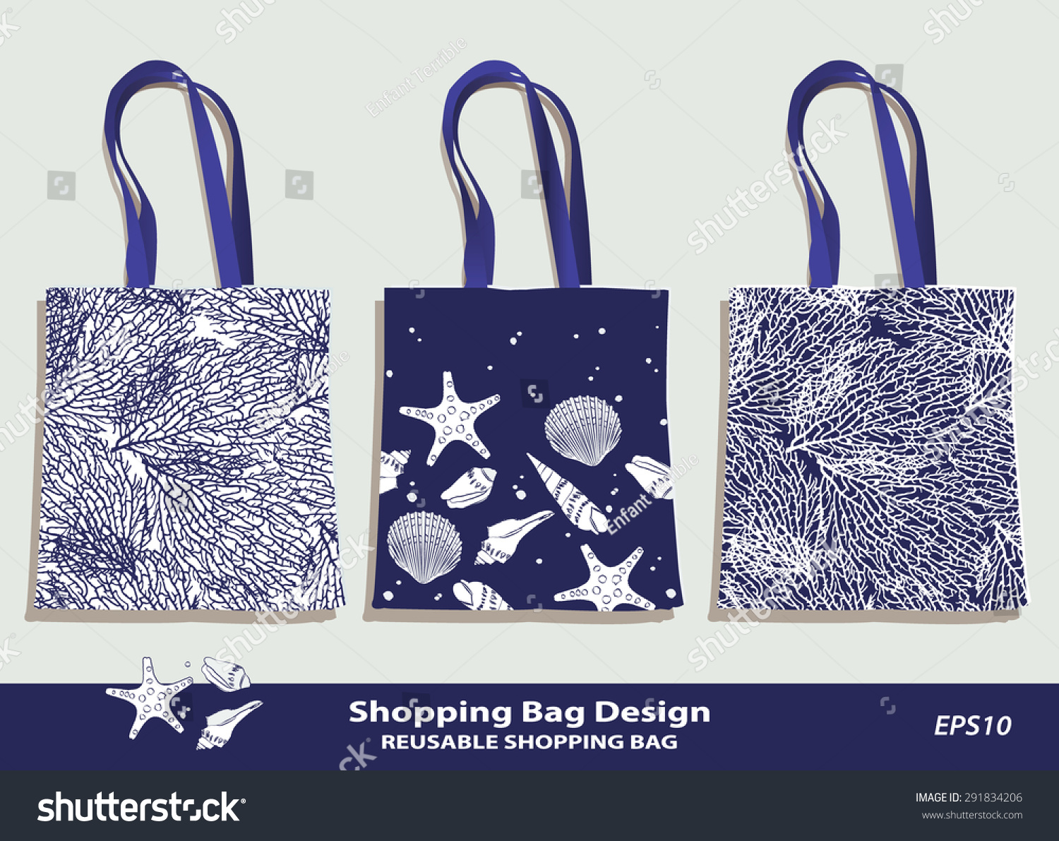 sea shell coral pattern shopping bag ベクター画像素材 291834206