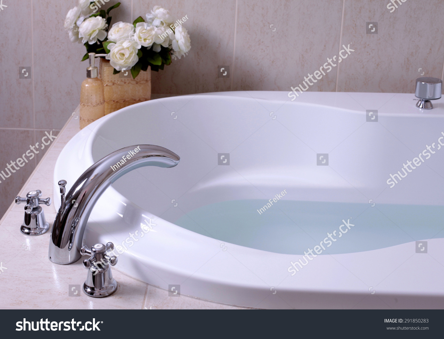 Detail Bathroom White Bath Tub Faucet Stock Photo (Edit Now ...