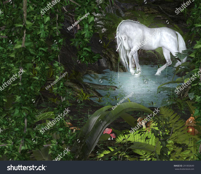 Unicorn Pond Magic Forest Setting Stock Illustration 291850649