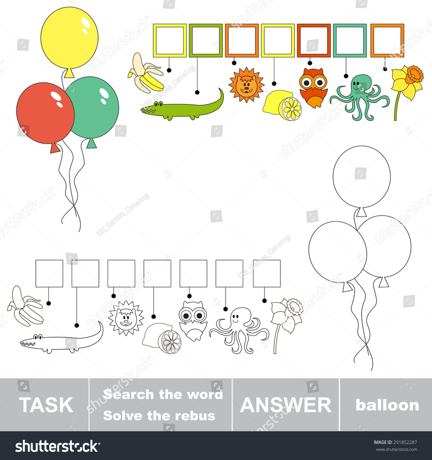 Rebus Kid Game Search Word Balloon Stock Vector Royalty Free