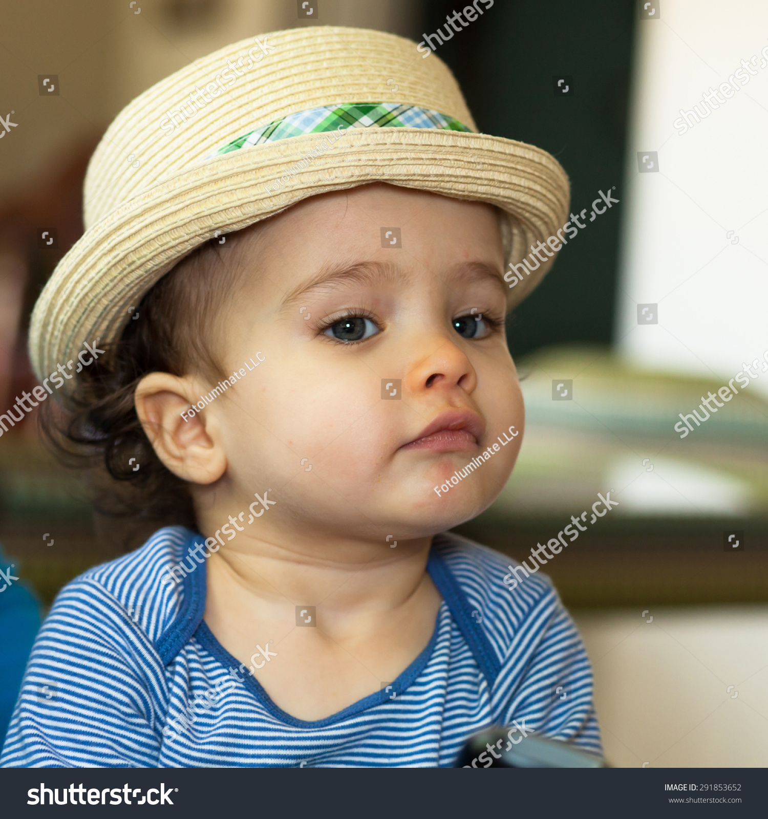 close portrait cute baby boy blue stock photo (royalty free