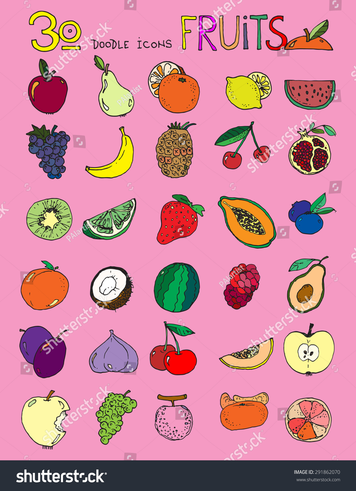 Drawingcolor Thirty Doodle Icons Fruits Simple Drawing Stock Illustration