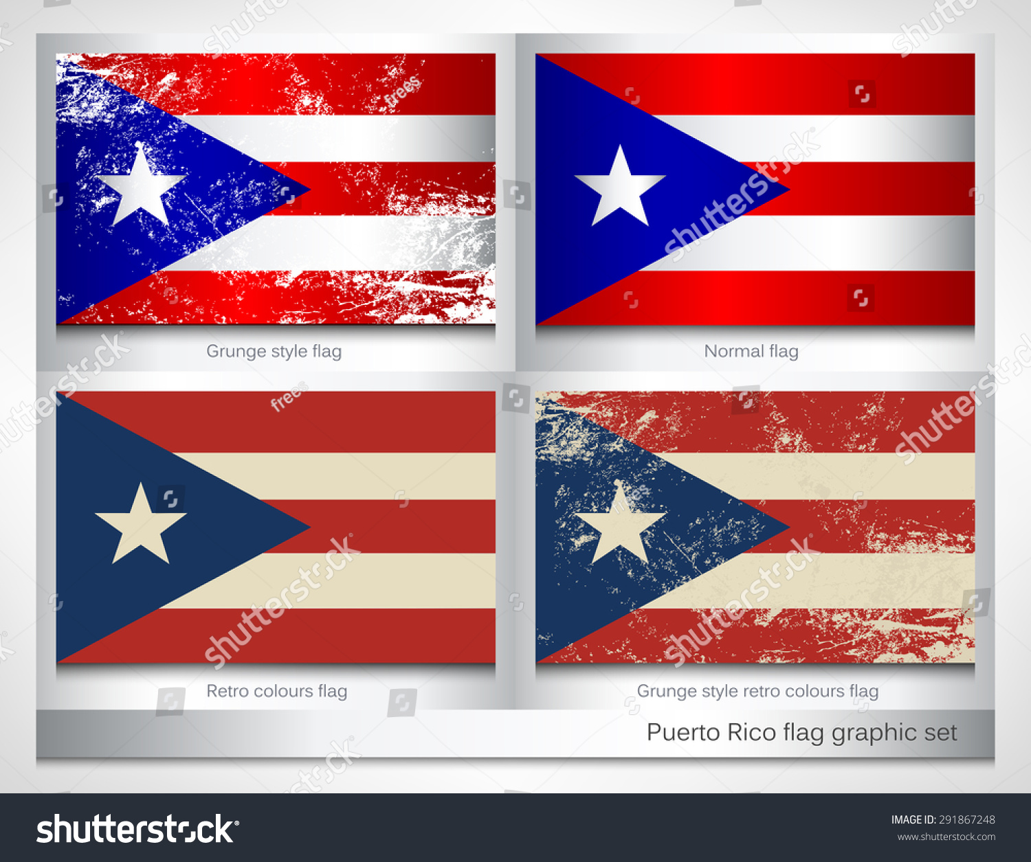 Puerto rico flag graphic set grunge stock vector 291867248 puerto rico flag graphic set with a grunge effect texture and retro colors grunge effect biocorpaavc Image collections