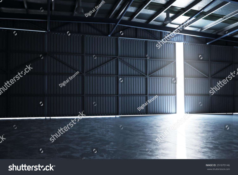 Empty building hangar door cracked open stock illustration for Door 3d warehouse