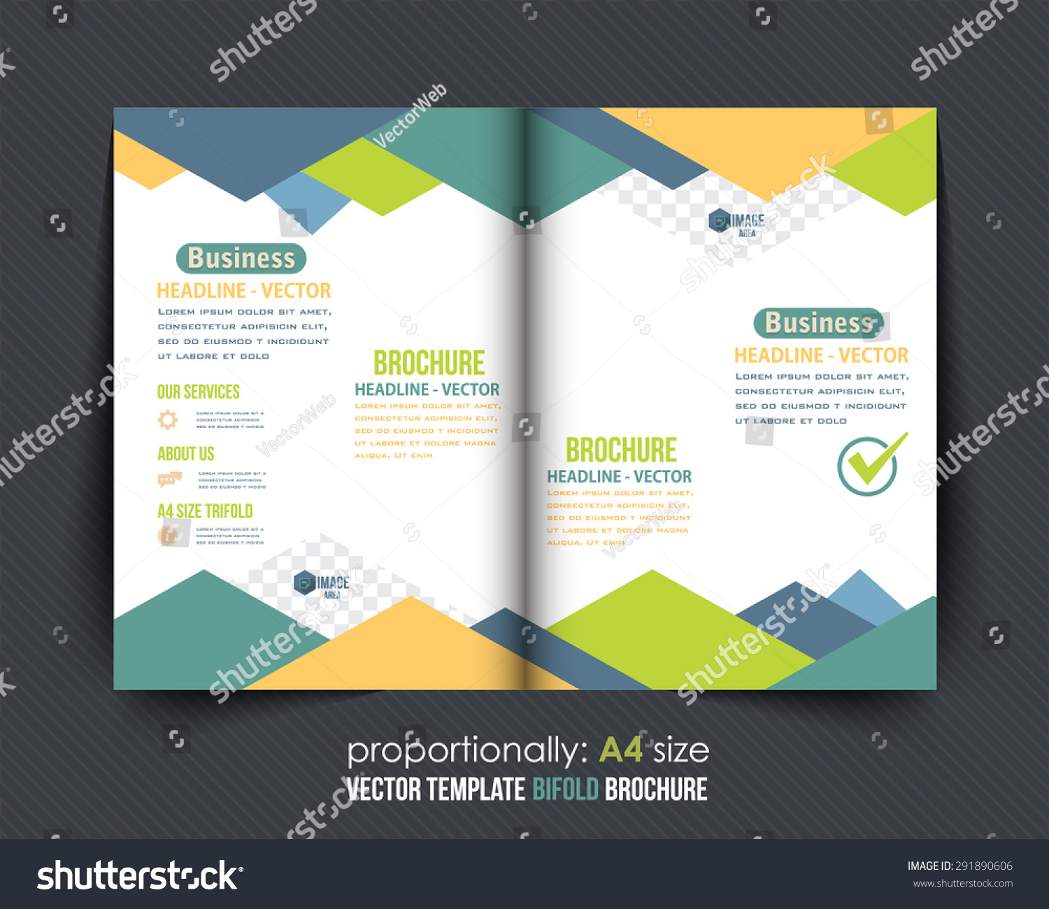 Abstract style business style bifold brochure stock vector for Corporate bi fold brochure template