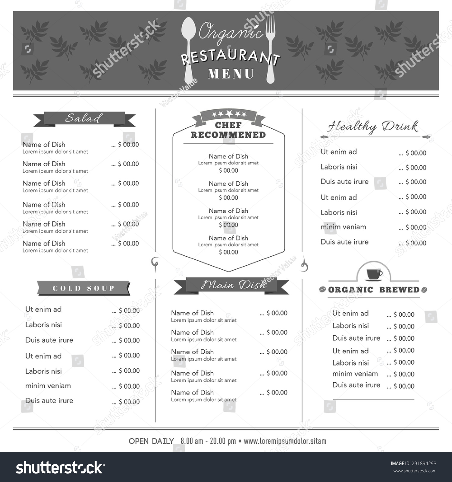 Organic food restaurant menu design template stock vector for Restaurant layout templates