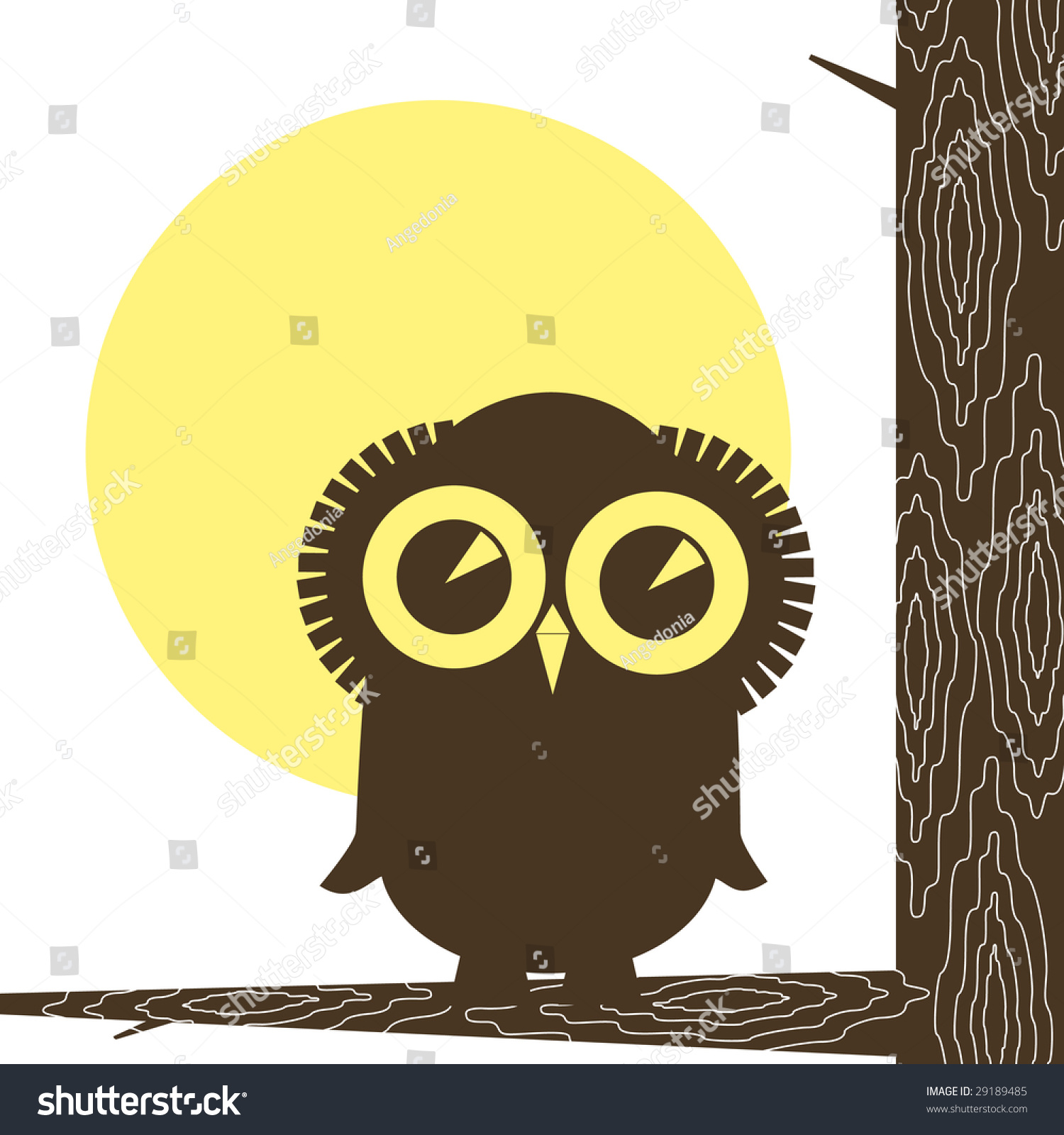 Stylized Eagle Owl On Gnarl Tree Stock Illustration 29189485