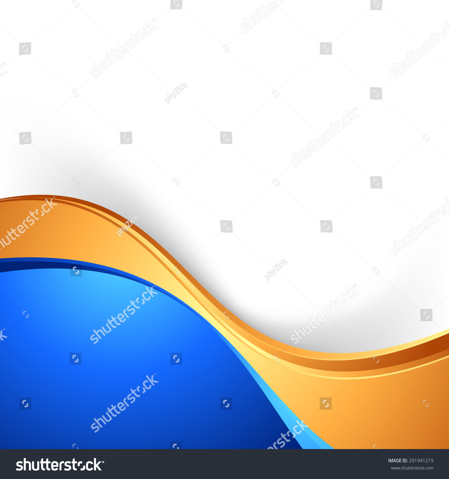 bright swoosh border abstract blue gold stock vector