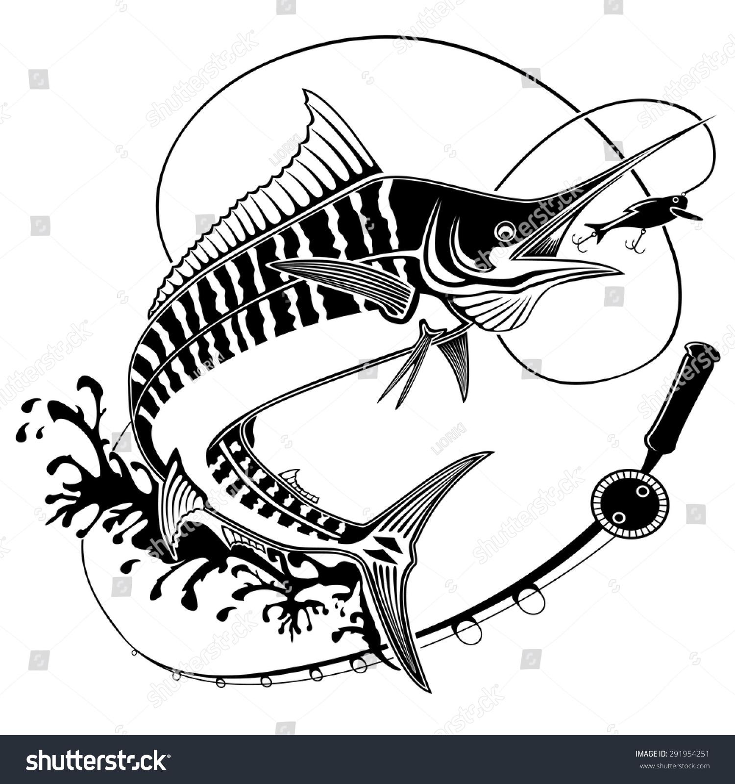 Vector Illustration Marline Fish Waves Fishing Stock Vector ...