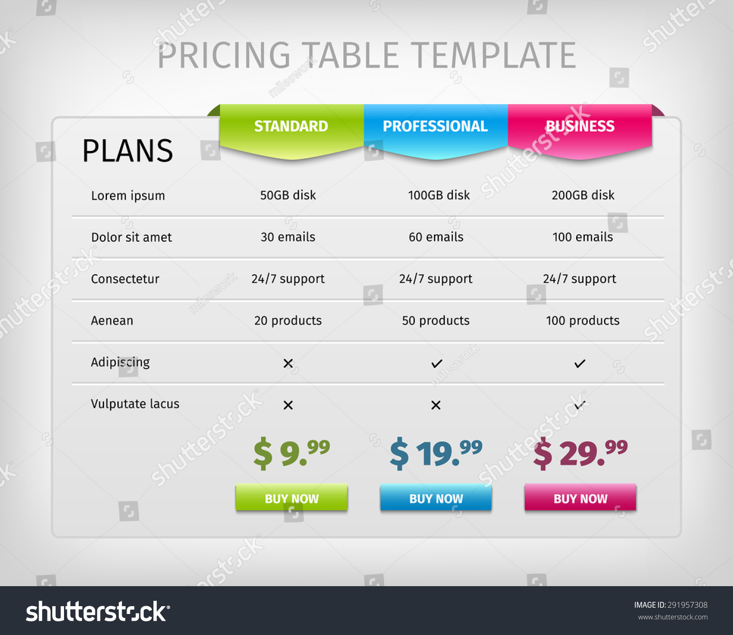 Pricing Table: Web Pricing Table Template Business Plan Stock Vector