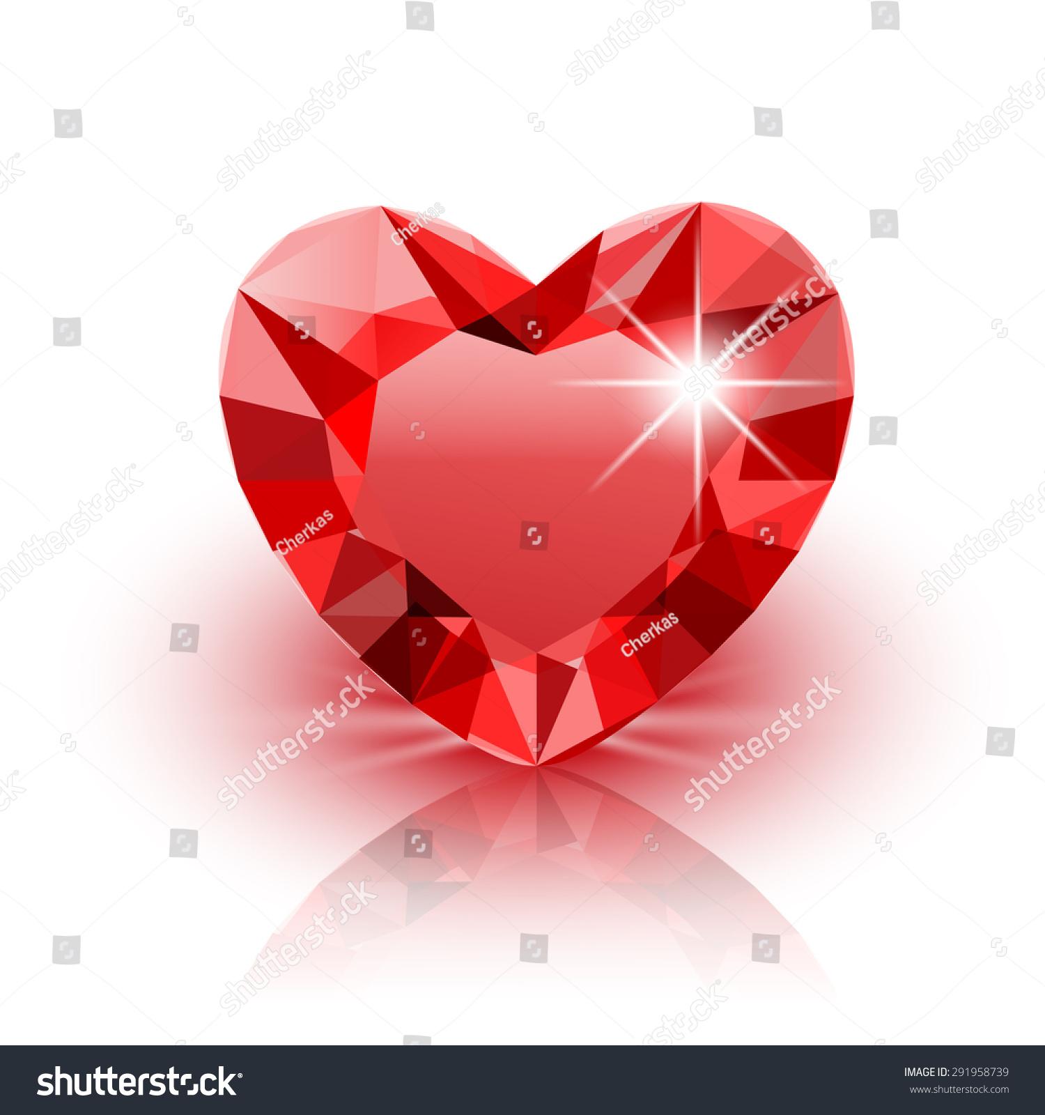 vector icon red diamond heart valentine stock vector