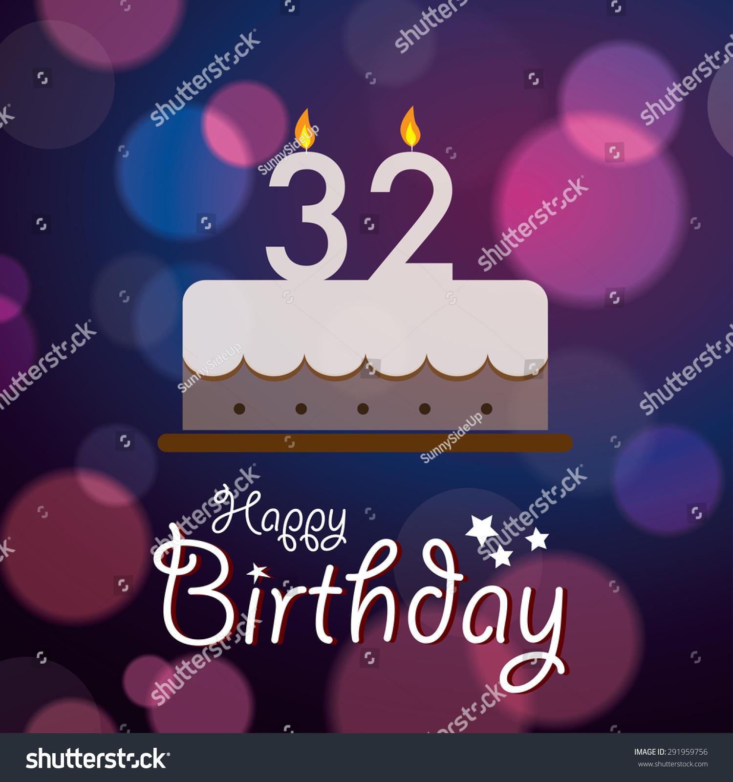 Happy 32nd Birthday Bokeh Vector Background Stock Vector