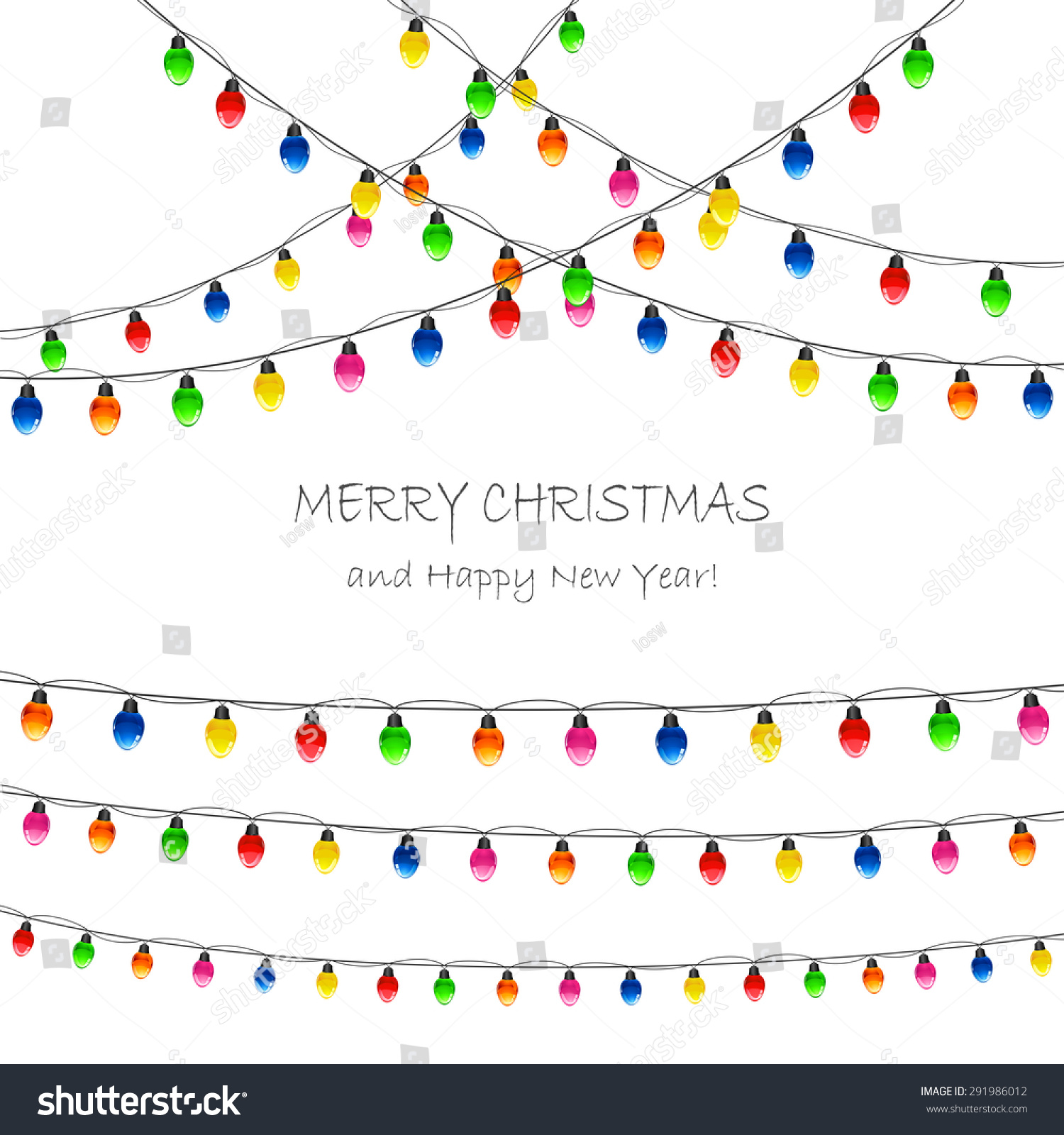 Multicolored Christmas lights on white background, illustration ...