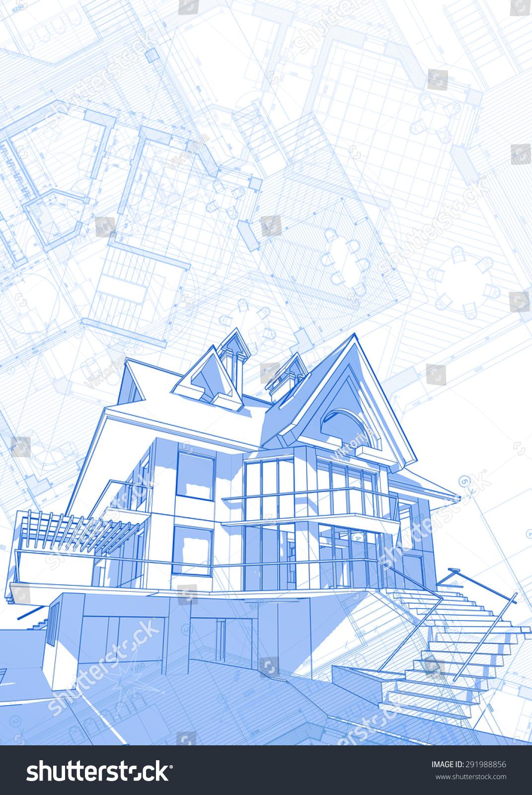 Architecture Design Blueprint House Plans Illustration