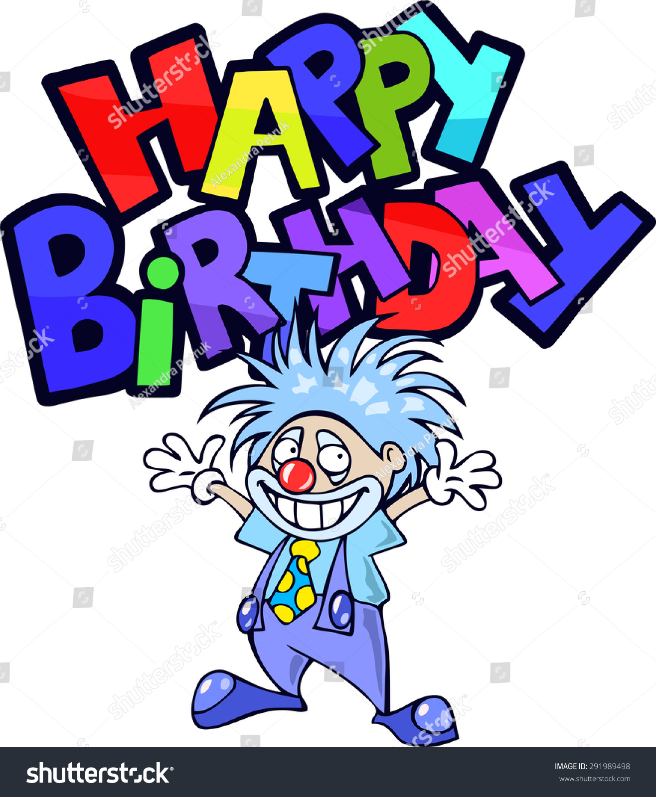 Happy Birthday Greeting Card Funny Cartoon Stock Vector Royalty